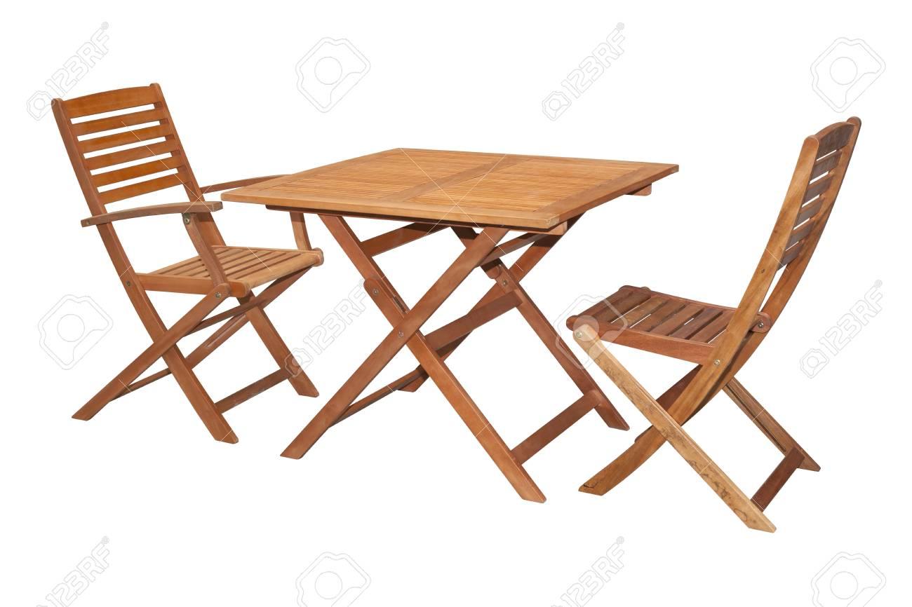 Set Aus Holz Gartenmobel Tisch Und Stuhle Auf Weiss Und Mit