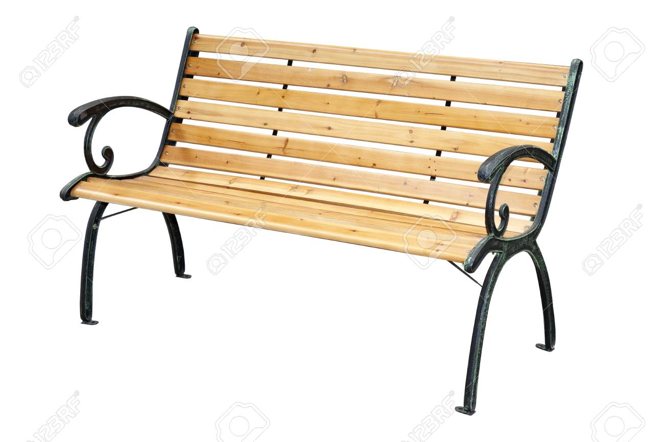 Fantastic Wooden Garden Bench With Metal Elements Isolated On White Background Ncnpc Chair Design For Home Ncnpcorg