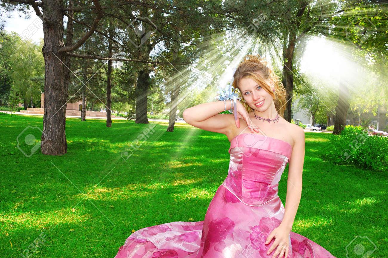 Happy pretty bride in sunbeams Stock Photo - 3005118