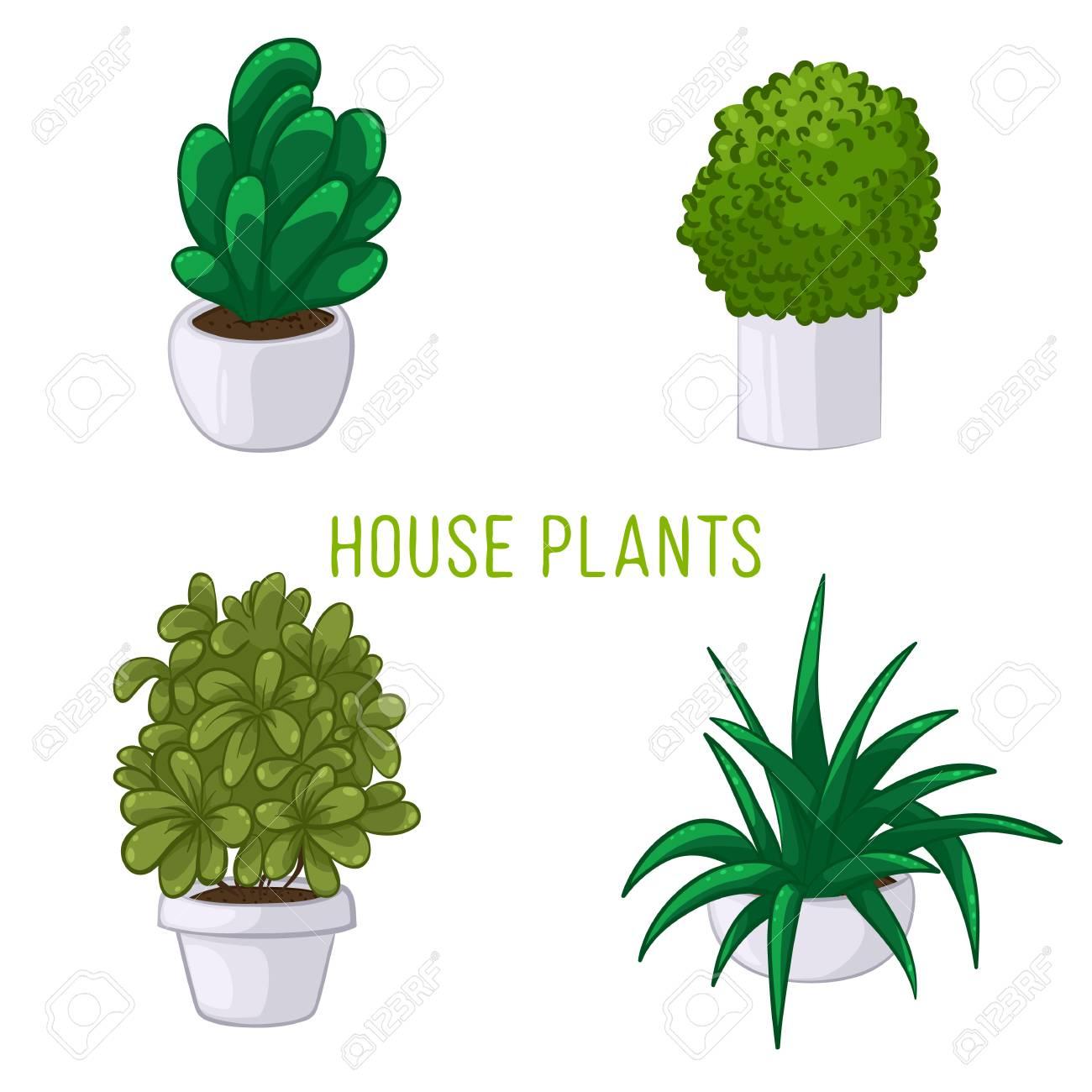 ステッカー白地の鉢に観葉植物のセットのベクトル イラストのイラスト
