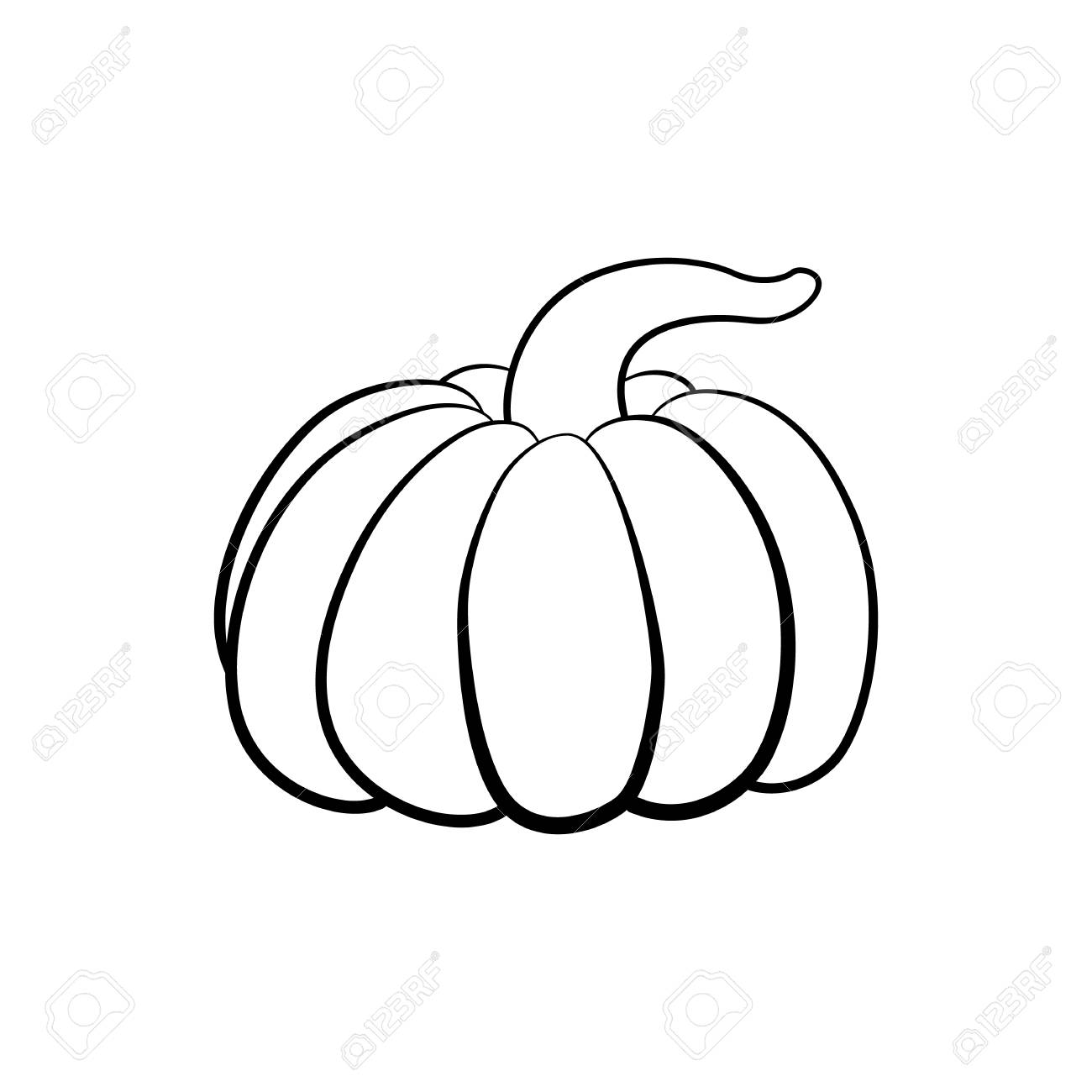 Vector Outline Illustration Of A Pumpkin On A White Background
