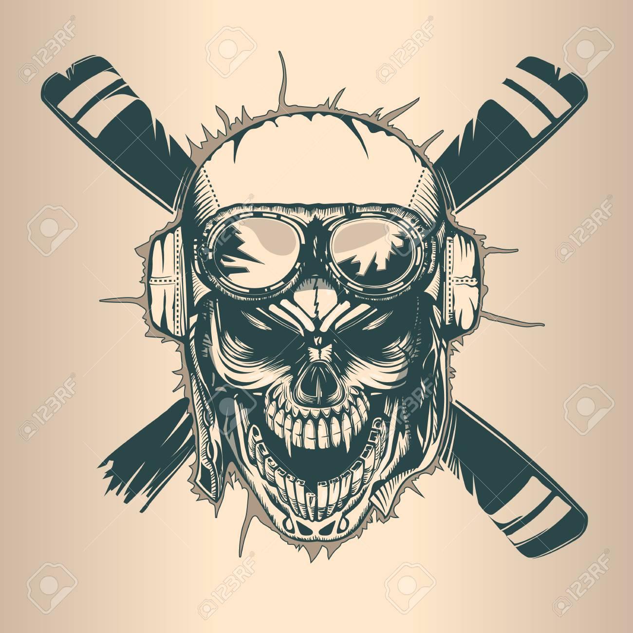 Vintage pilot skull, monochrome hand drawn tatoo style - 104576143