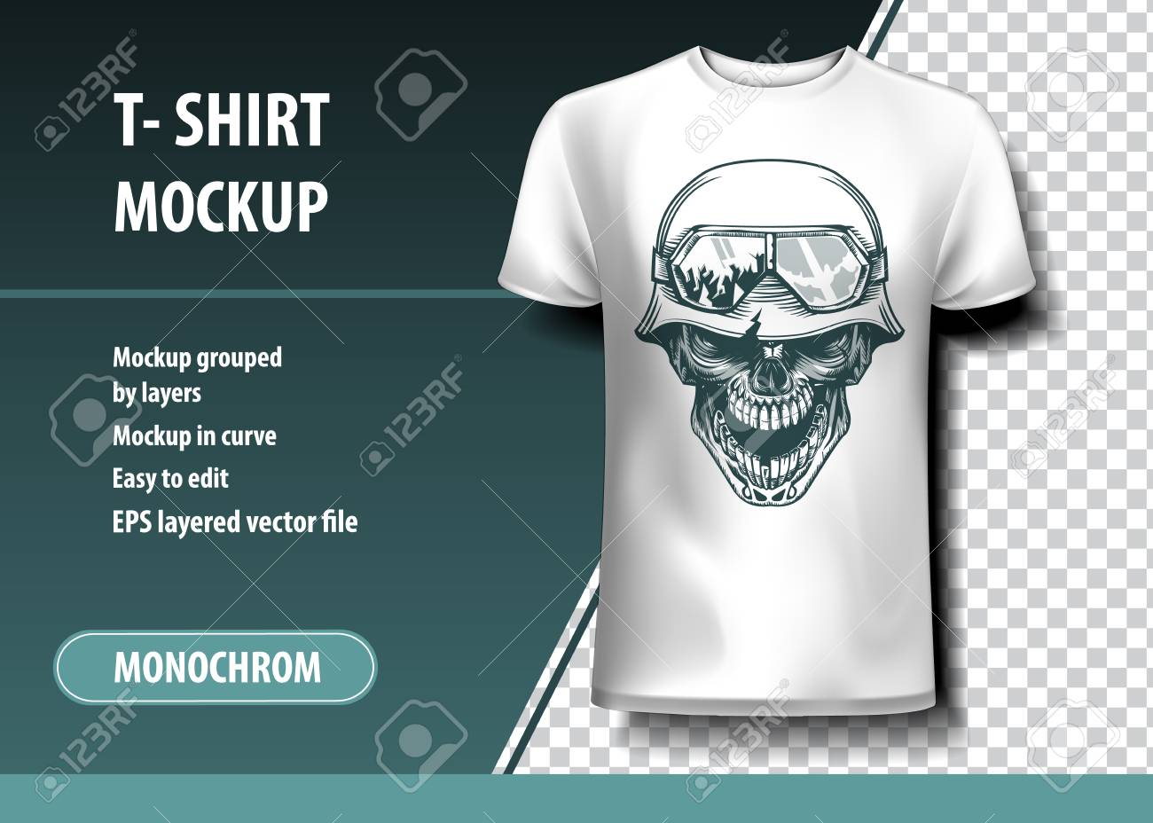 Skull of the German Soldier. T-Shirt template, fully editable. - 109821004