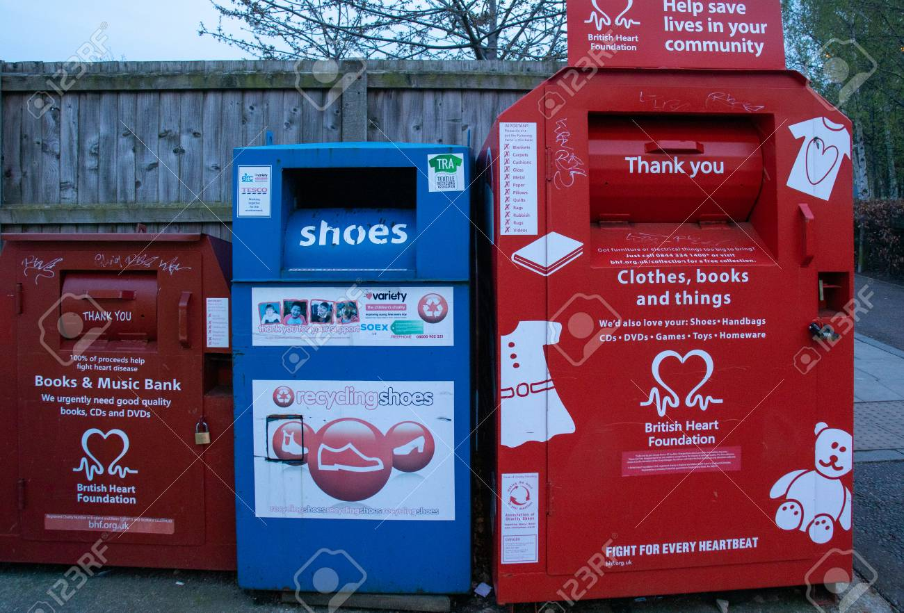 Beverley,England - April, 5, 2019: large recycling bins in Beverley