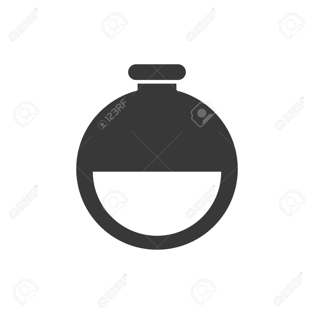 Flask silhouette style icon design, Chemistry science laboratory research technology biology equipment and test theme Vector illustration - 140372824