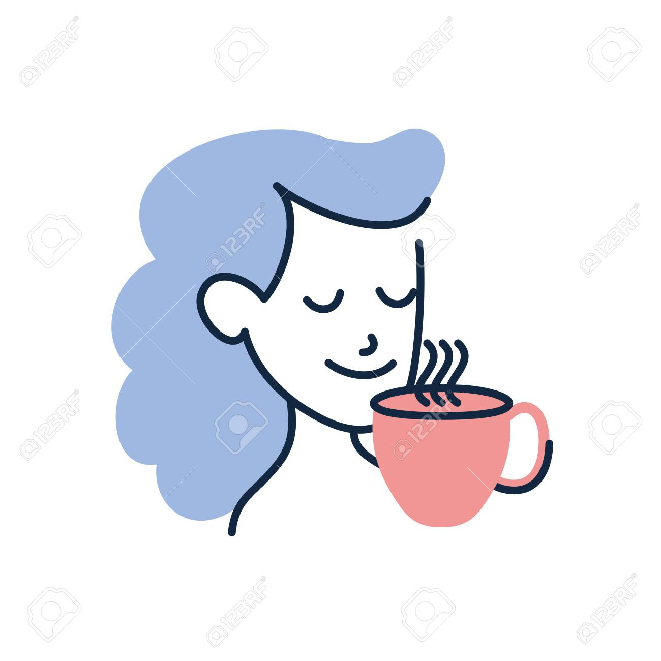 woman cartoon with tea cup doodle line fill style icon design royalty free cliparts vectors and stock illustration image 140970865 woman cartoon with tea cup doodle line fill style icon design