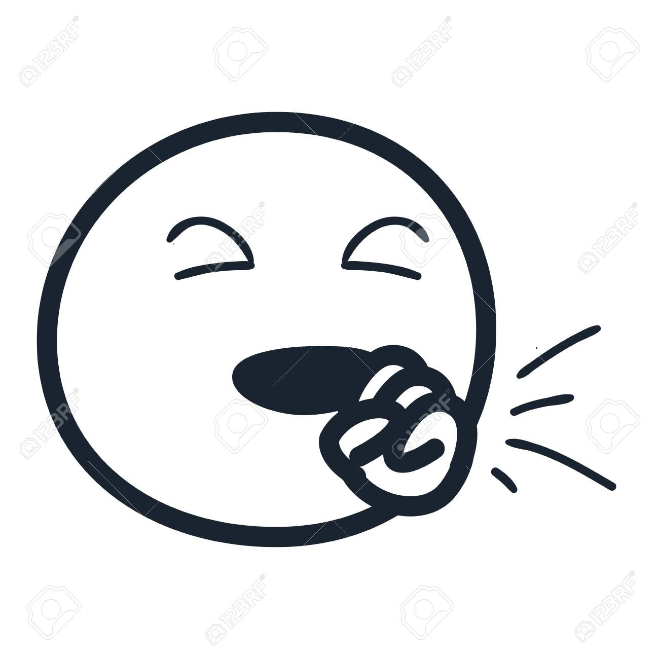 emoji with dry cough line style icon design cartoon expression stock photo picture and royalty free image image 146766511 stock illustration
