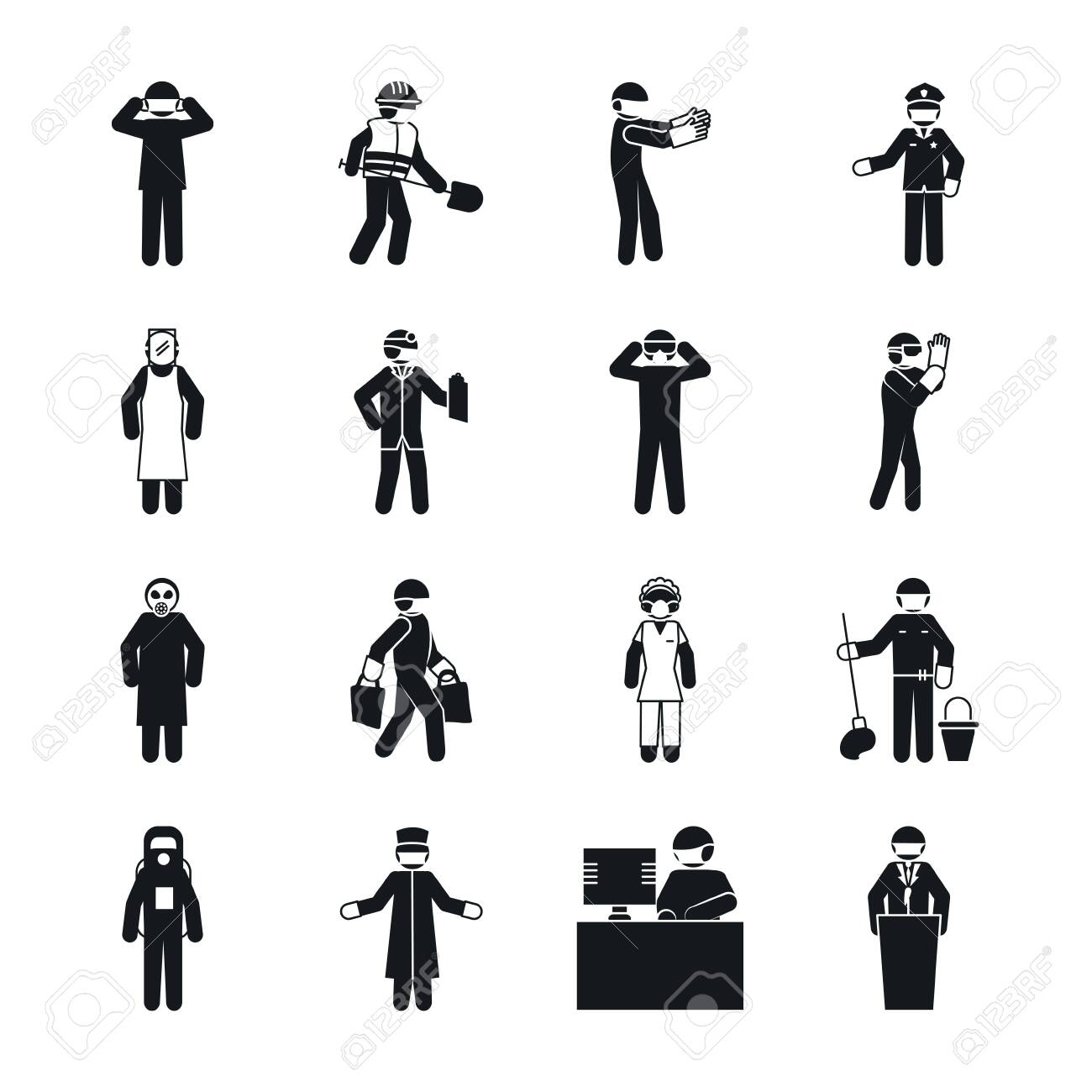 pictogram maid woman and essential workers icon set over white background, silhouette style, vector illustration - 148379352