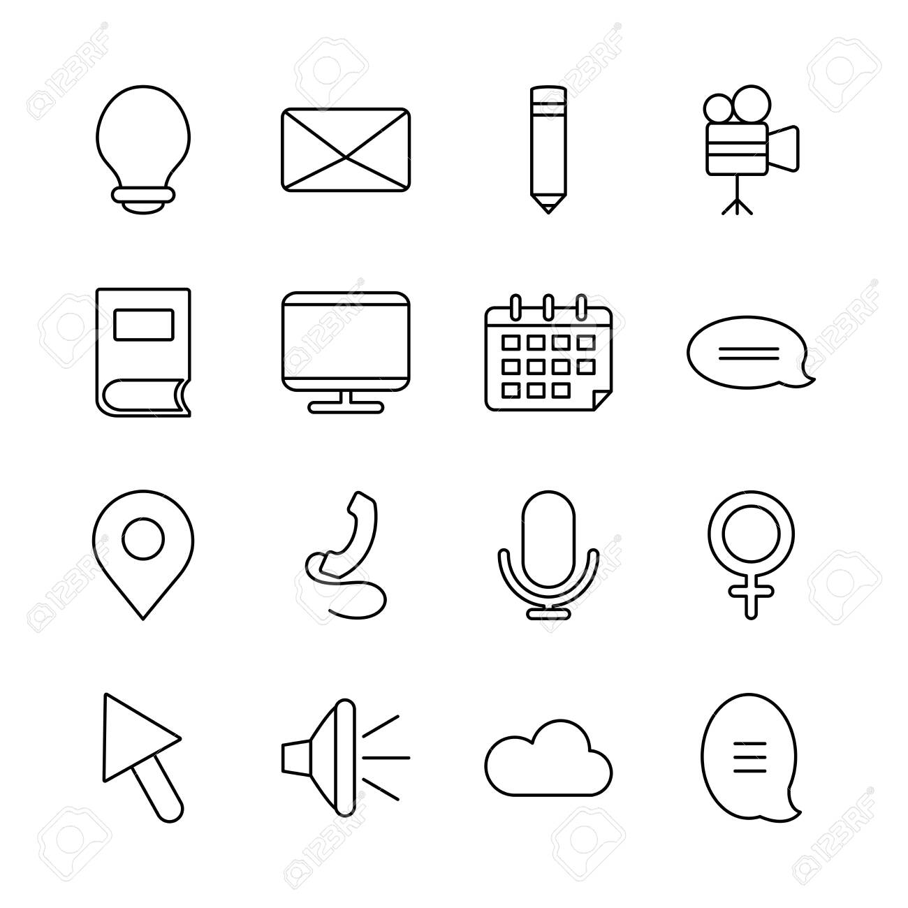 computer and web icons set over white background, line style, vector illustration - 149519817