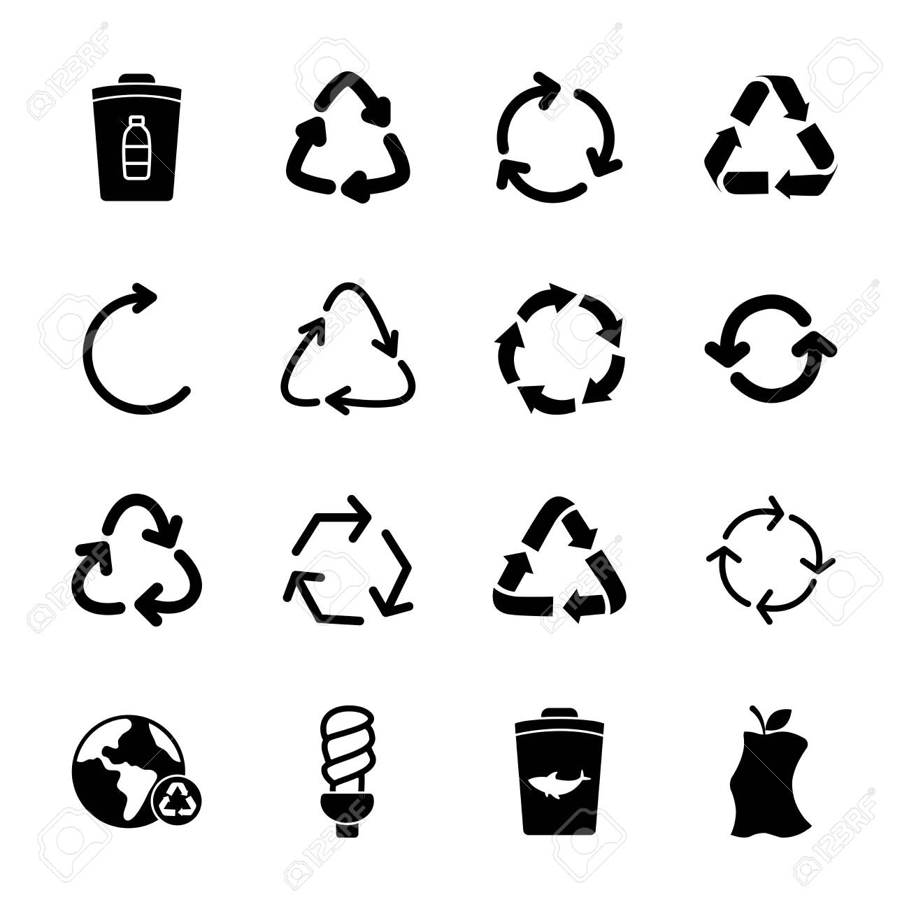 trash can and recycle icon set over white background, silhouette style, vector illustration - 150919620