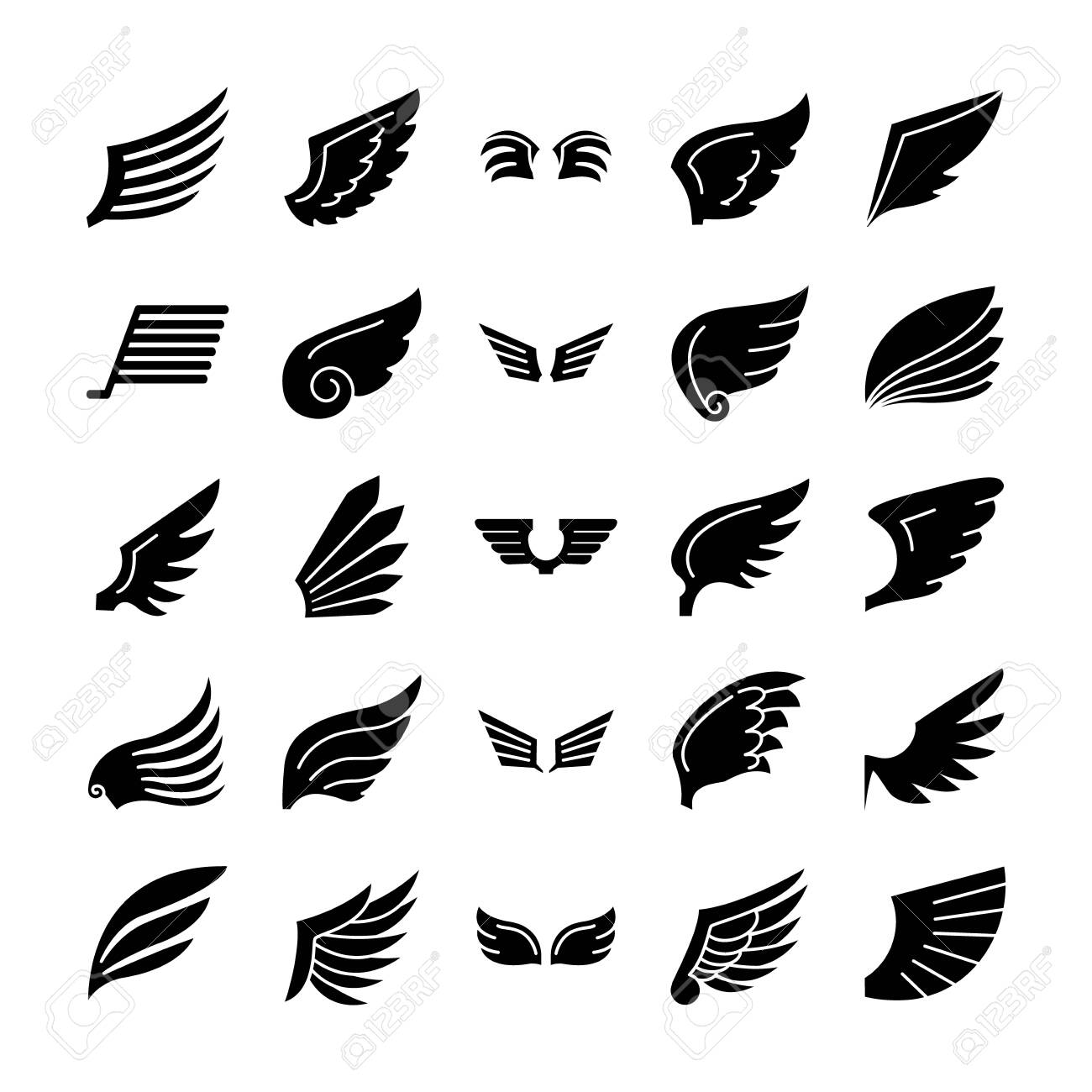 icon set of wings and falcon wings over white background, silhouette style, vector illustration - 153364028