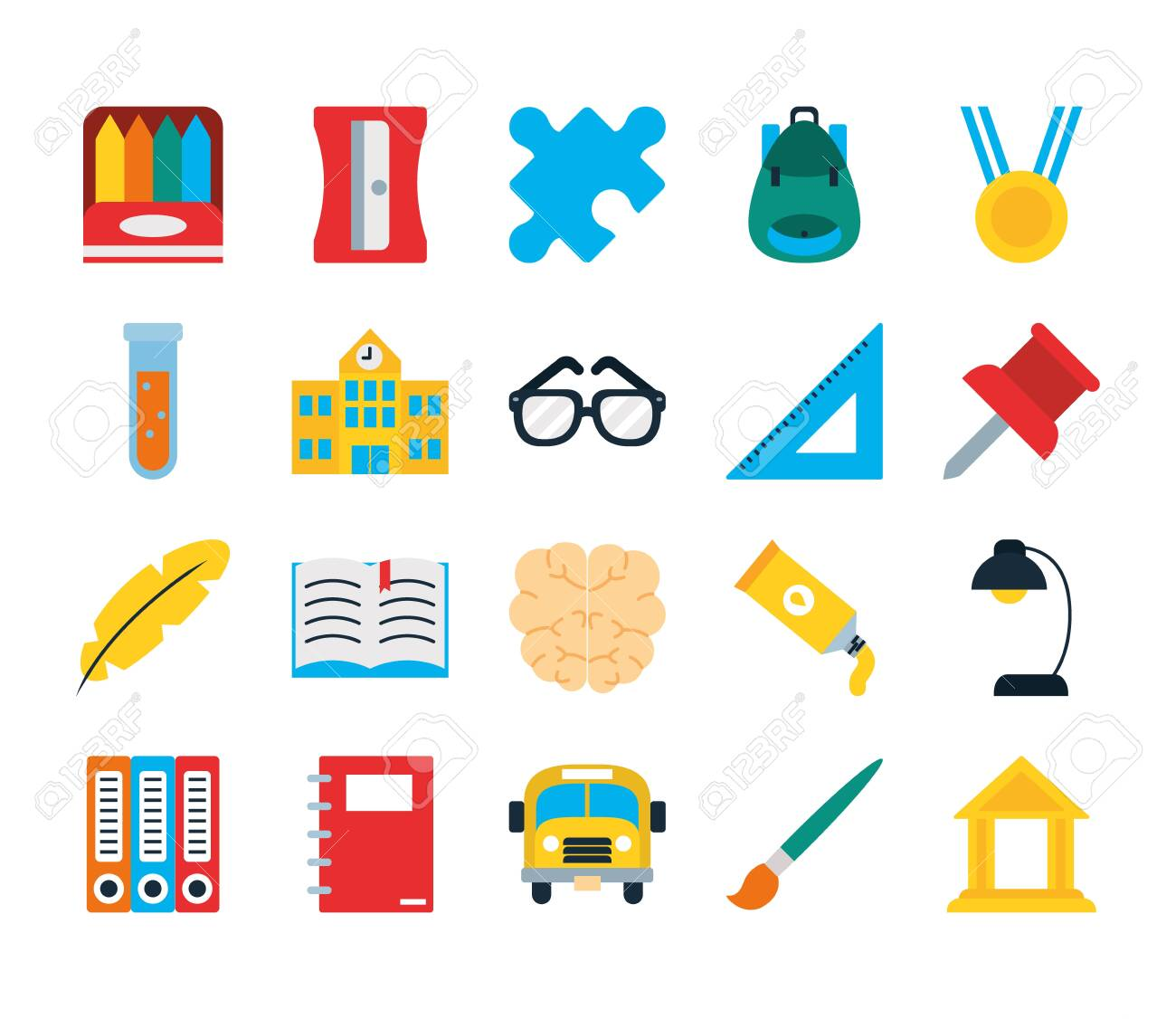 school backpack and school icon set over white background, flat style, vector illustration - 154326267