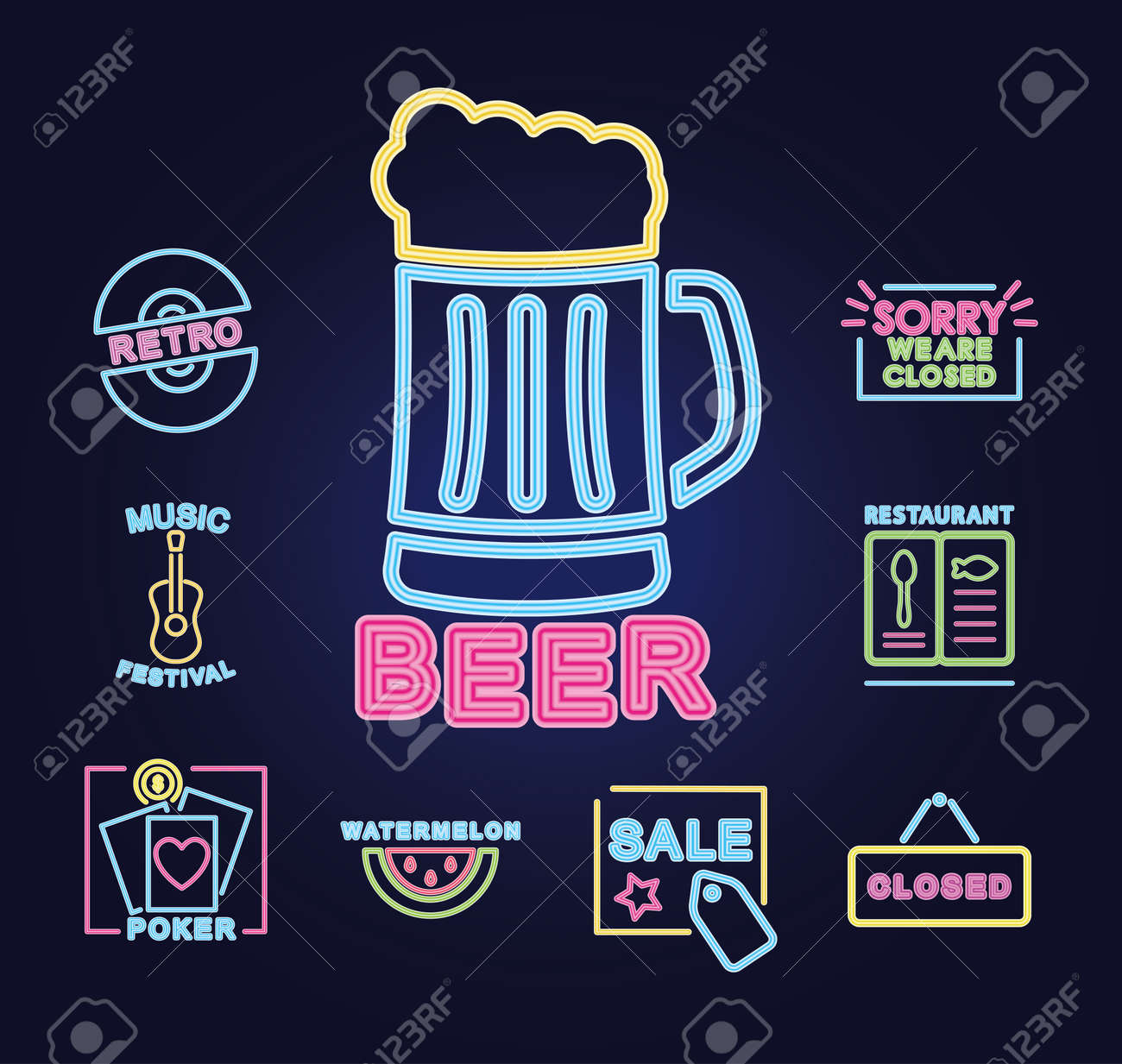 beer mug and neon signs icon set over purple background, vector illustration - 158754507