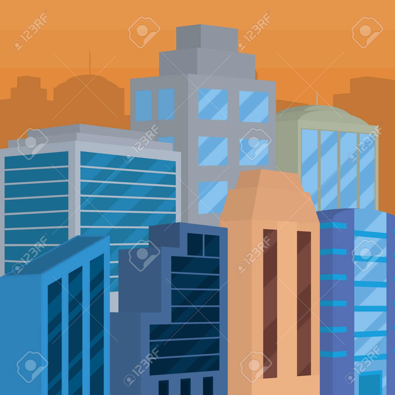 sunset city landscape - 169762243