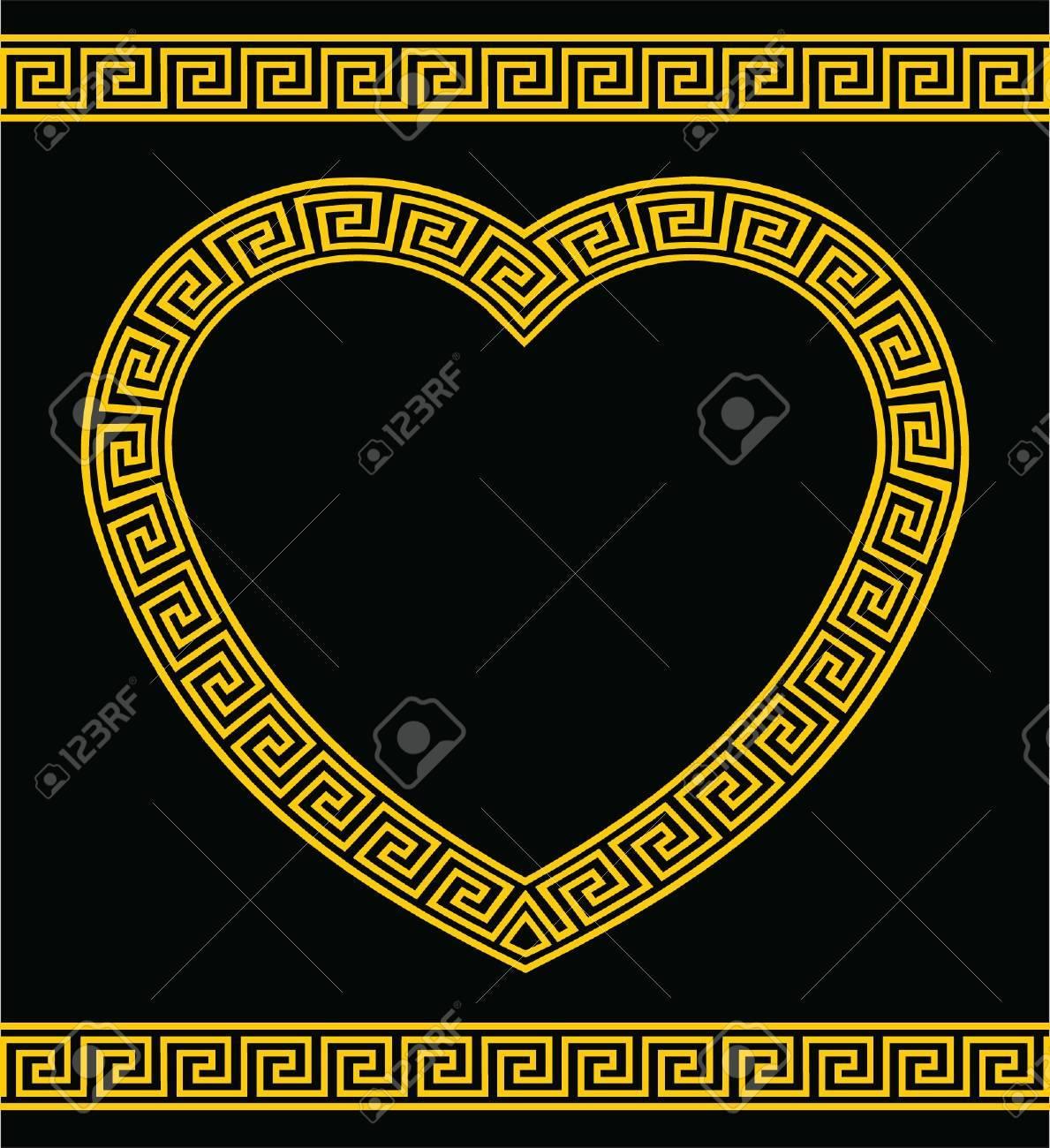Greek Key Heart Shape Border Stock Vector - 19696877