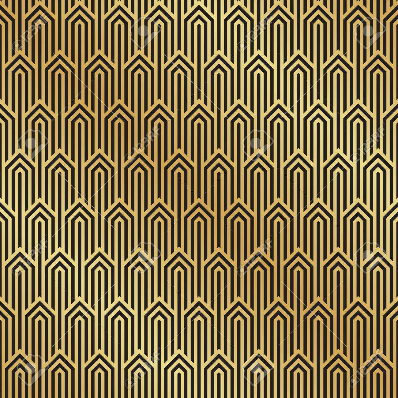 Seamless black and gold Art Deco pattern background. Art Deco..