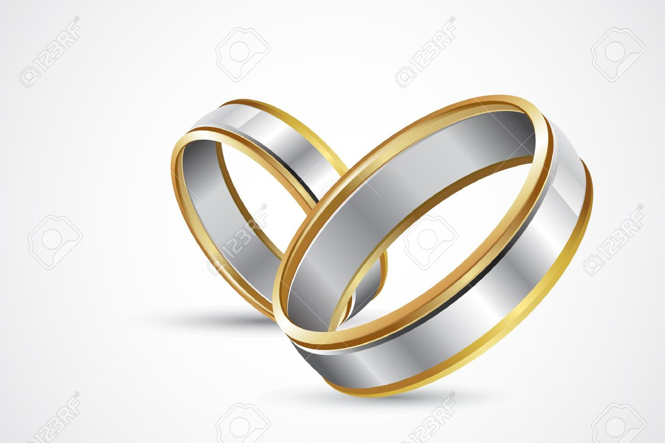 illustration of pair of engagement rings on abstract background Stock Photo - 8778284