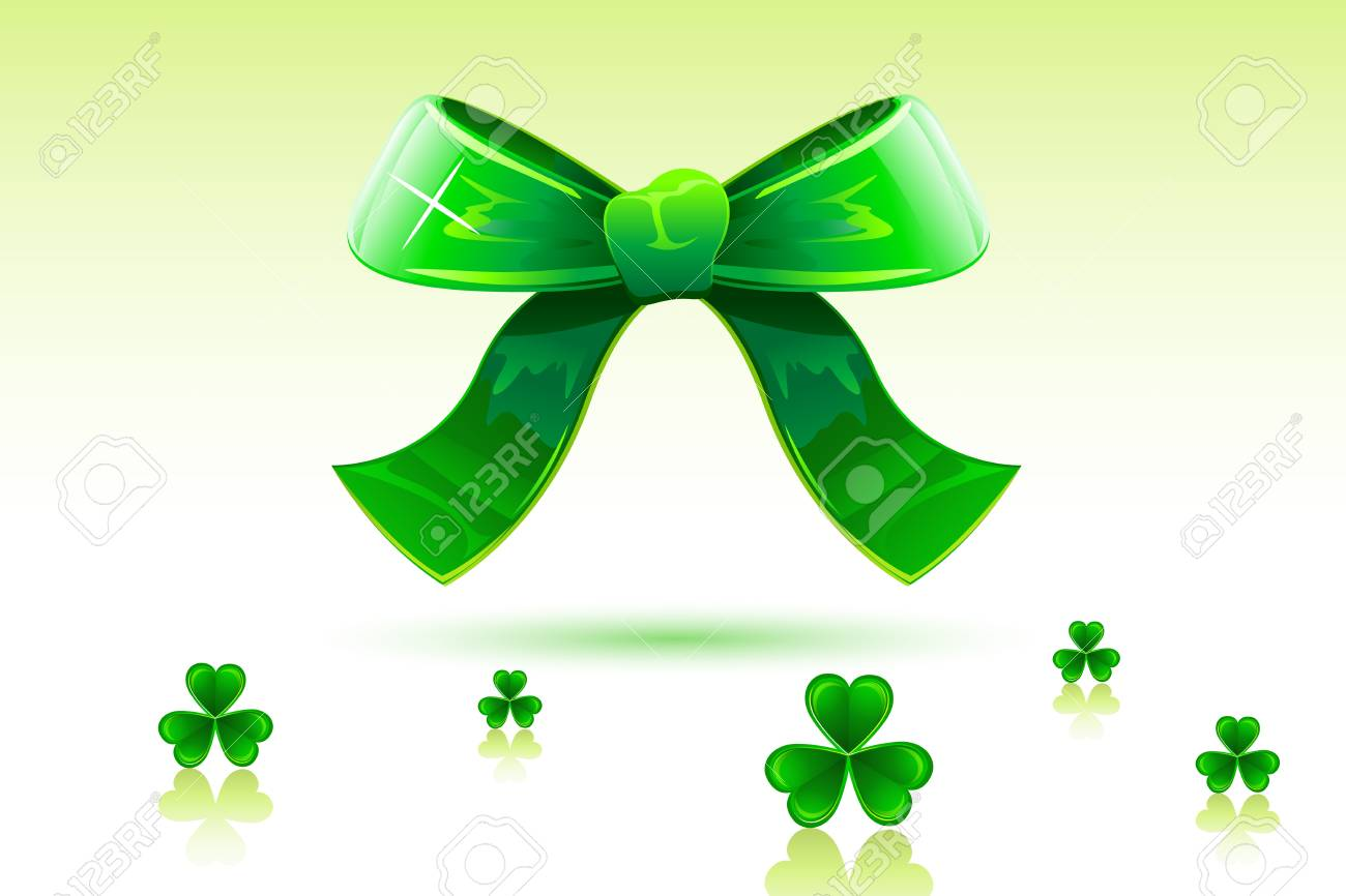 illustration of green bow with clover leaf of saint patrick's day Stock Vector - 8778273