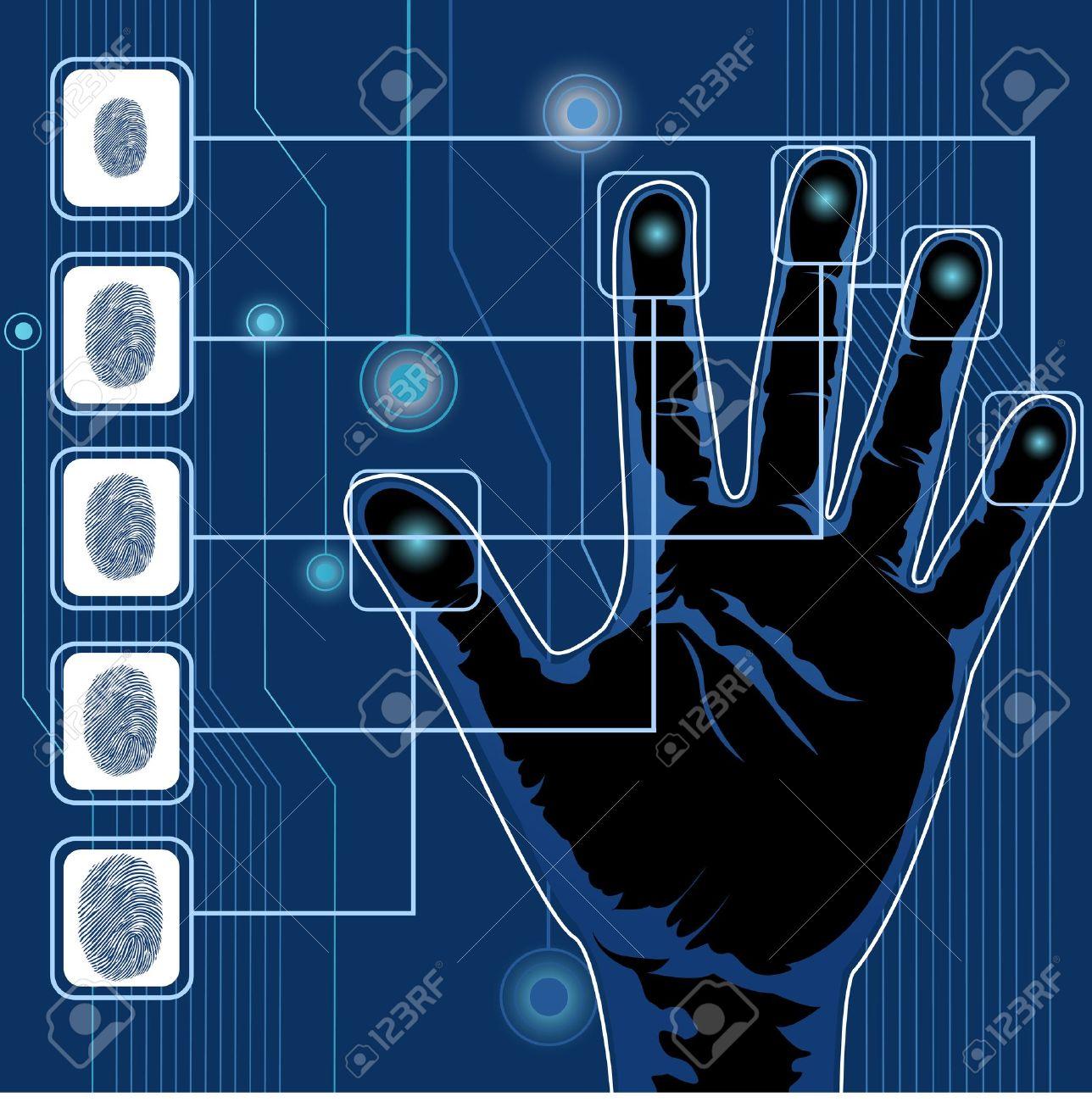 illustration of finger print testing with hand scanning - 8919964