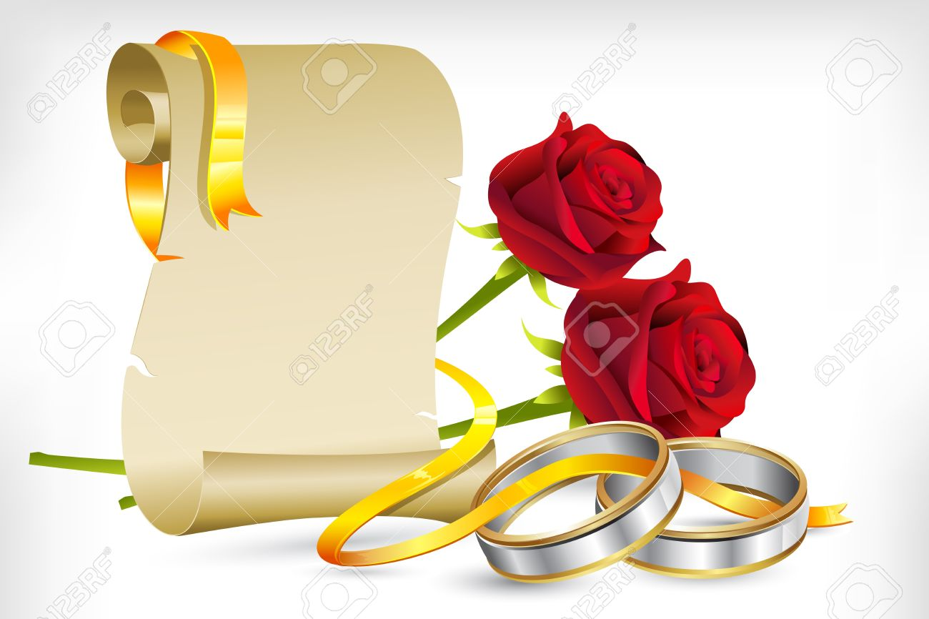 Illustration Of Pair Of Engagement Rings With Scroll Letter And