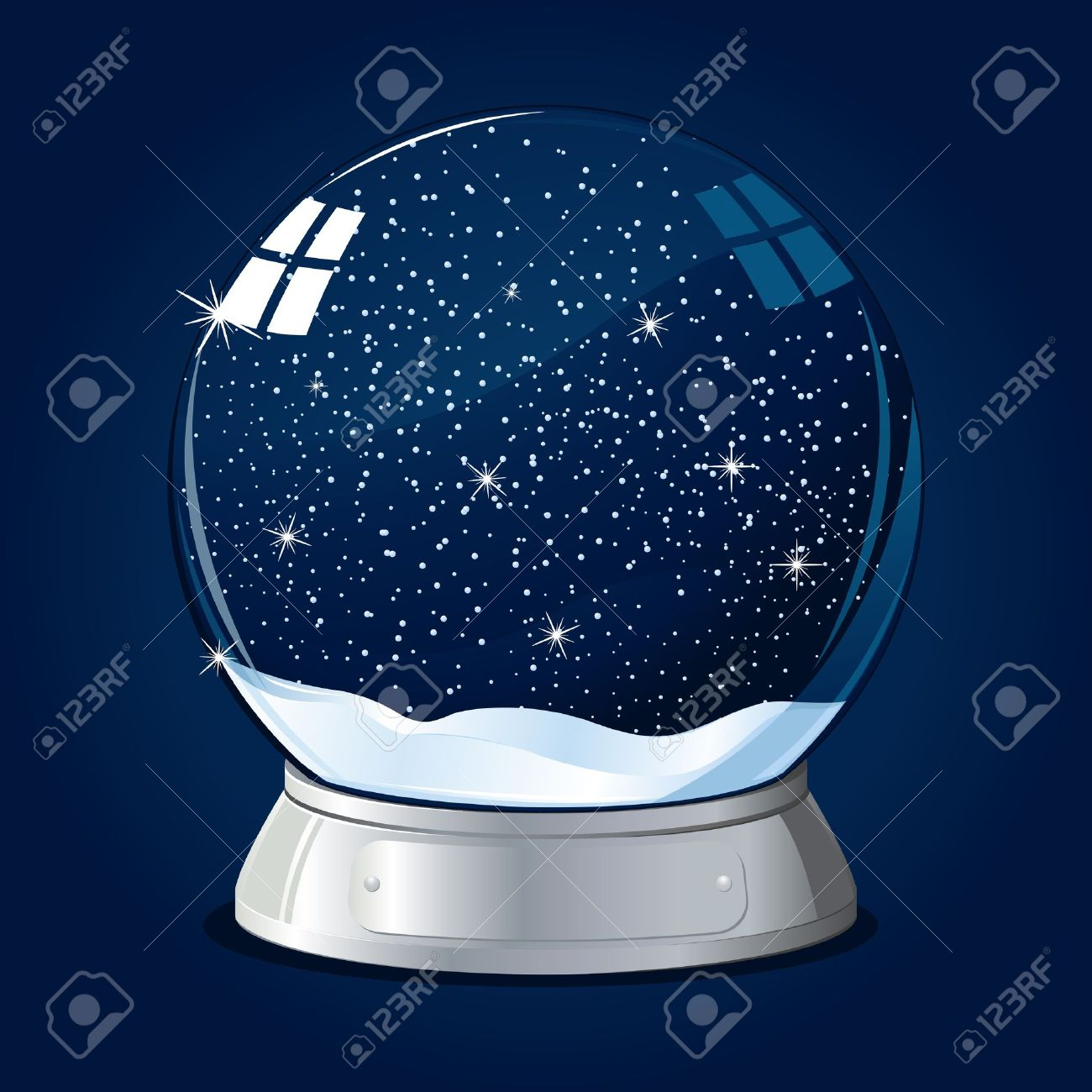 illustration of glass ball with snow fall inside Stock Vector - 8920814