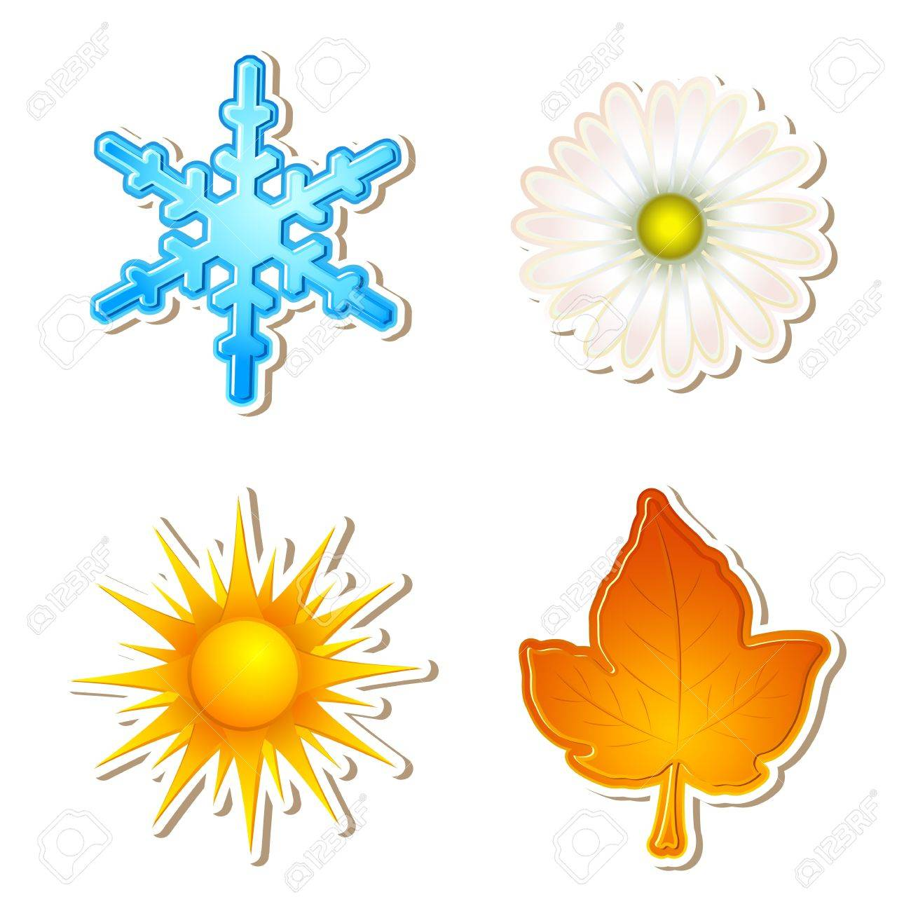 illustration of snowflake,daisy,sun and maple leaf showing four season Stock Vector - 8977383