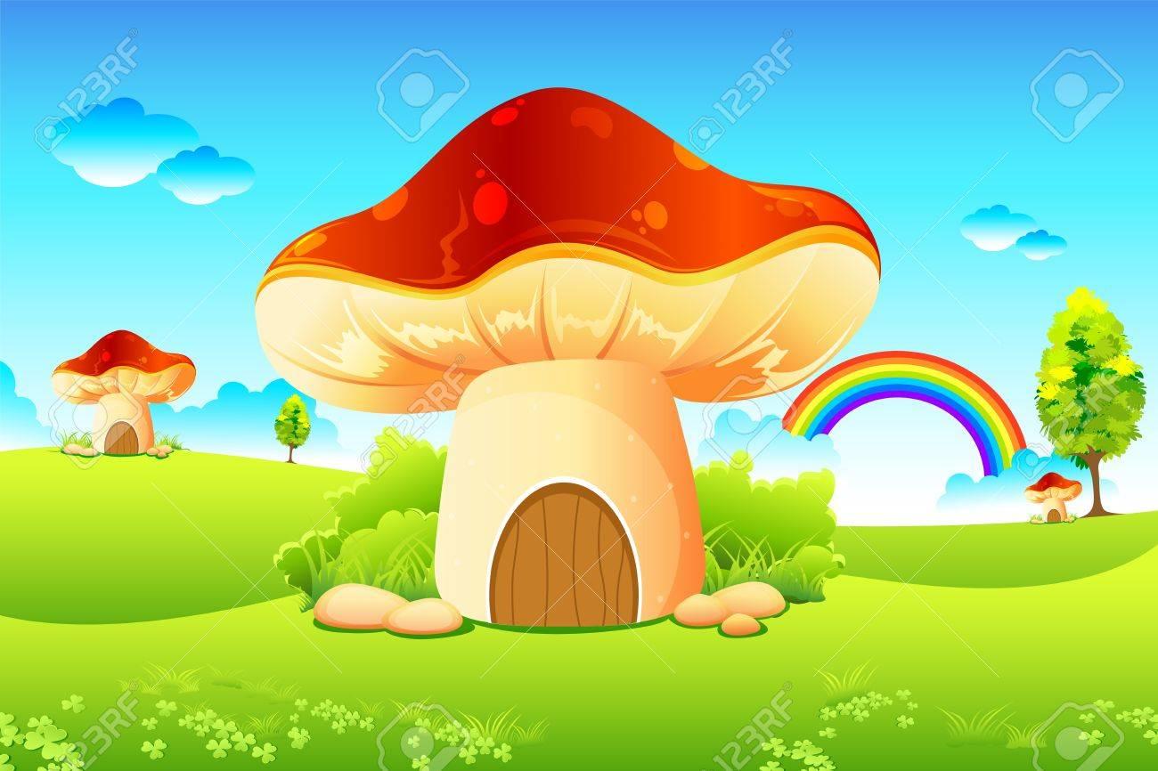 illustration of mushroom homes in beautiful meadow Stock Vector - 8991852