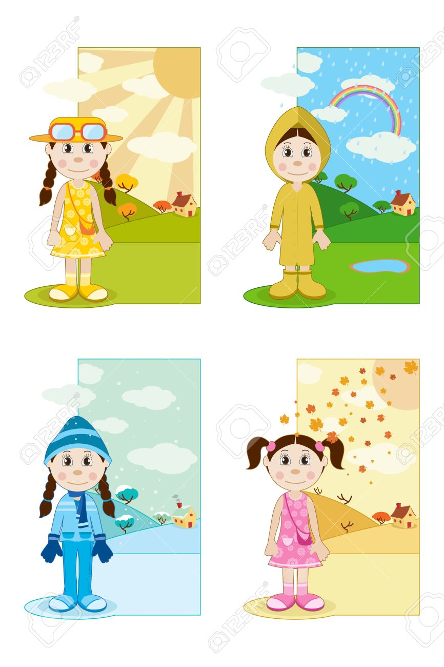 illustration of baby girl wearing different dresses in different season Stock Vector - 9116684