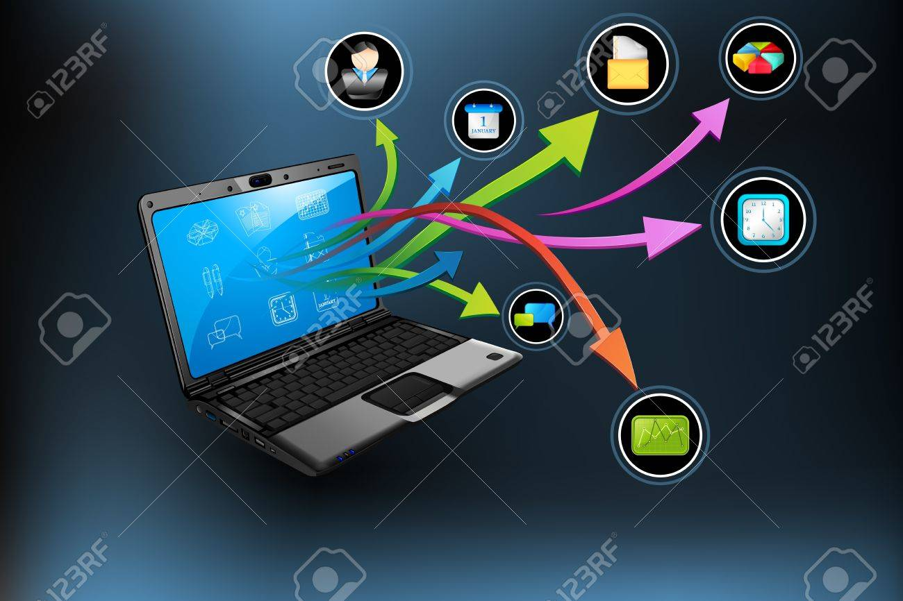 illustration of application coming out of laptop on abstract background Stock Vector - 9117789