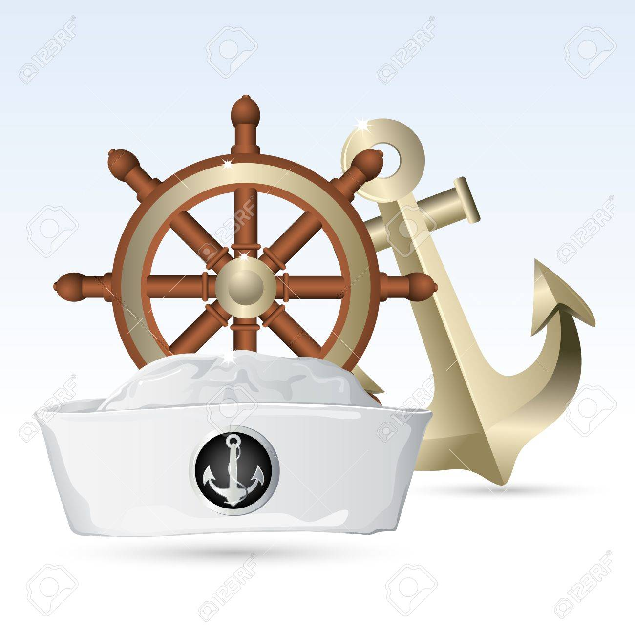 illustration of sailor hat with steering wheel and anchor Stock Vector - 9124654