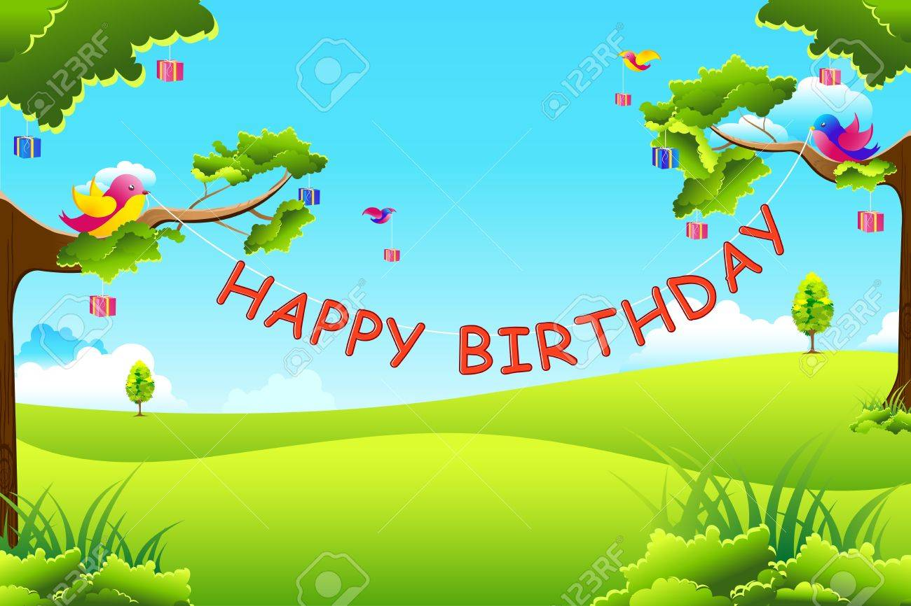 illustration of birthday text hanging with tree and birds flying with gifts Stock Vector - 9168246