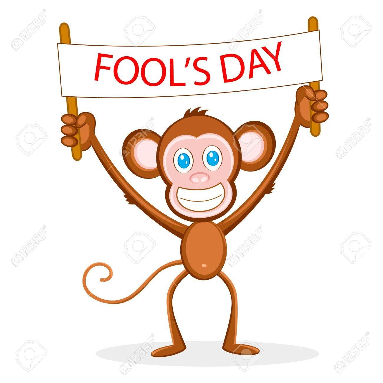 illustration of monkey holding fool's day banner Stock Vector - 9167321