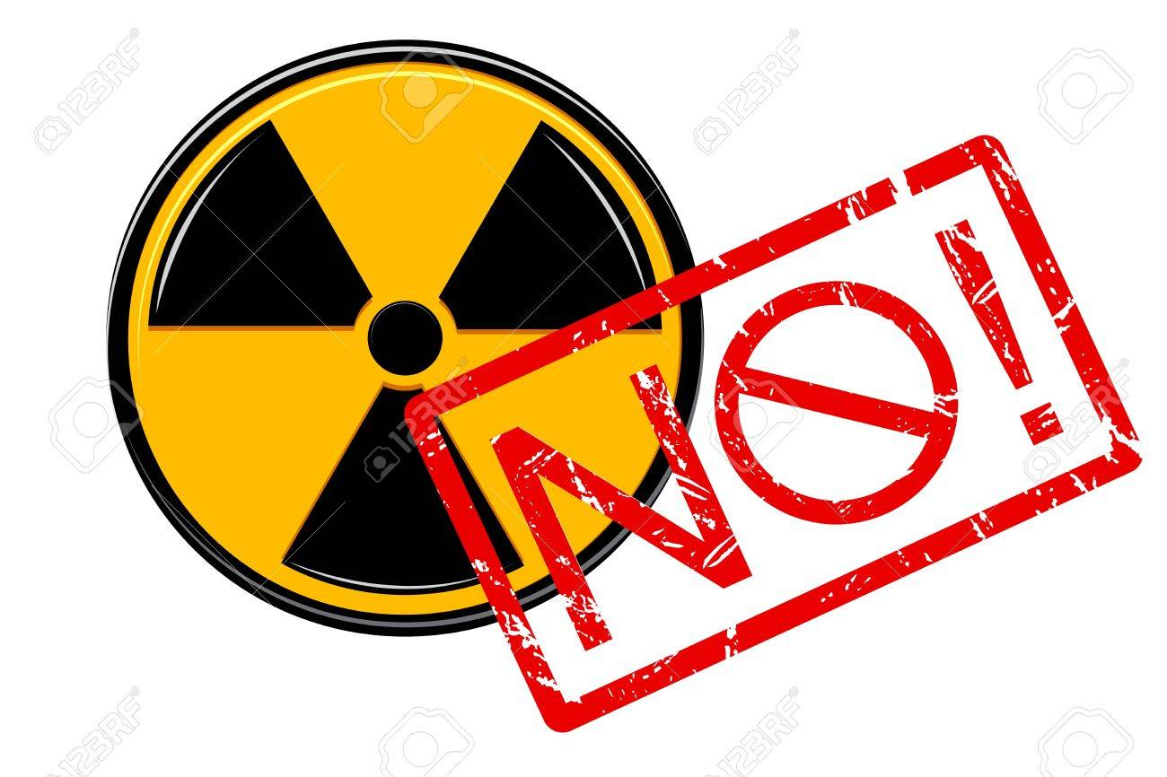 illustration of no with nuclear sign on white background Stock Vector - 9167349