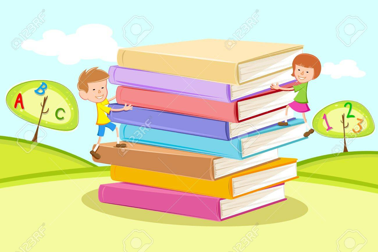 illustration of kids climbing on pile of books in natural background