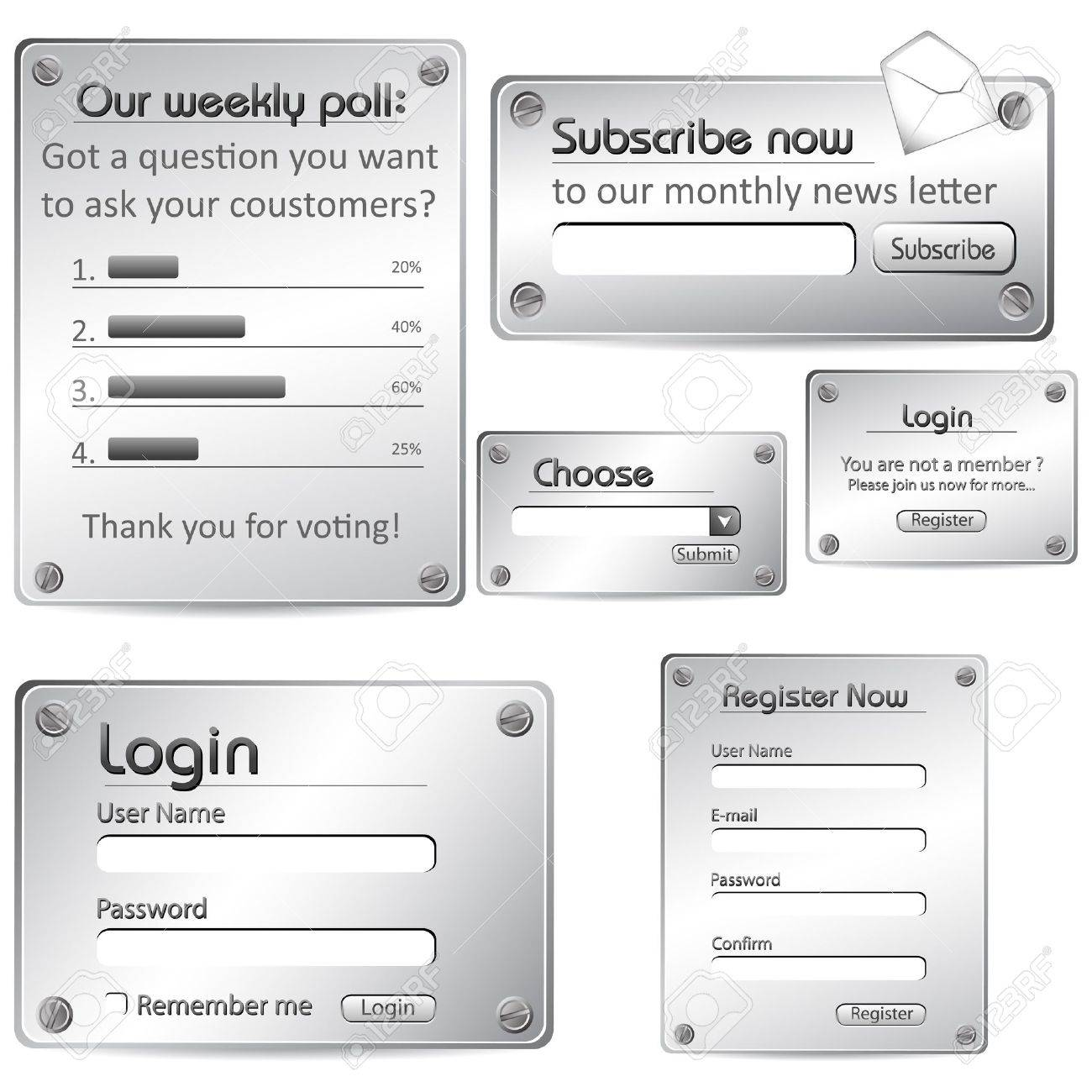 illustration of set of web form templates in metallic look on
