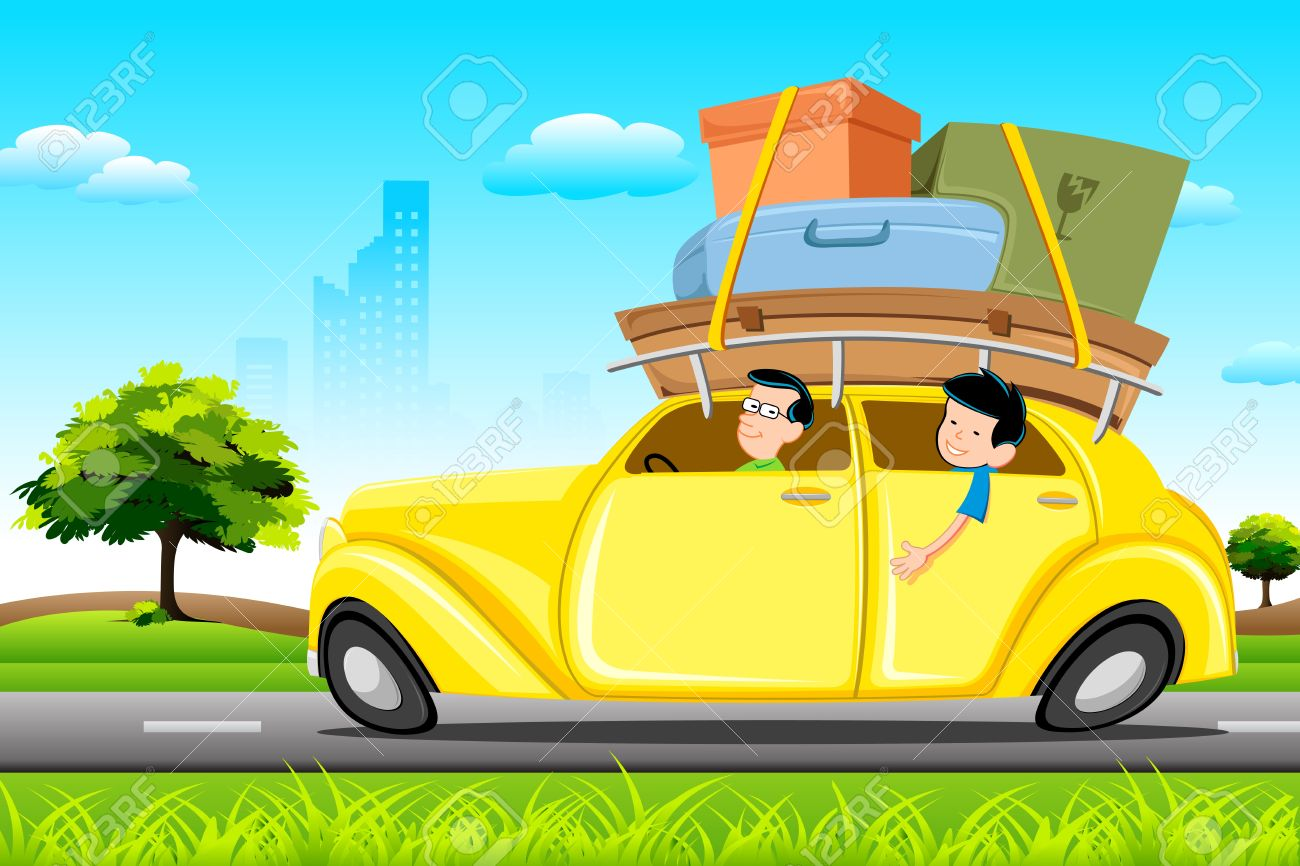 illustration of family in car loaded with luggage going for trip Stock Vector - 9294057