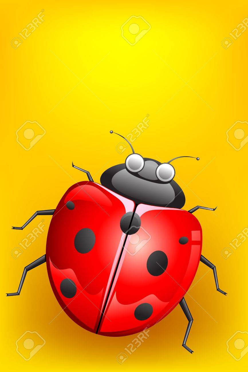 illustration of lady bug on abstract background Stock Illustration - 9294043