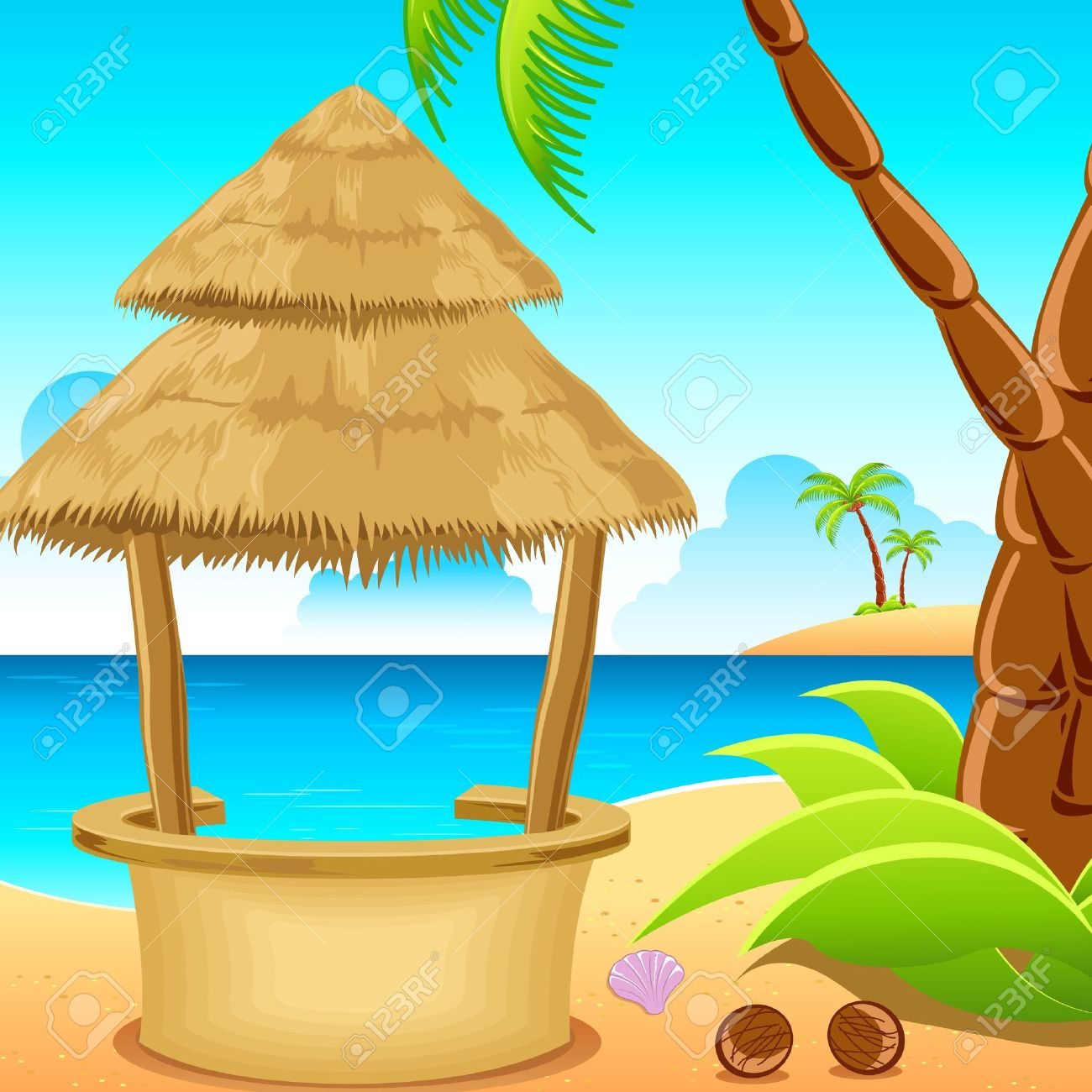 illustration of straw hut on lonely beach with coconut tree.. Stock Vector - 9321195