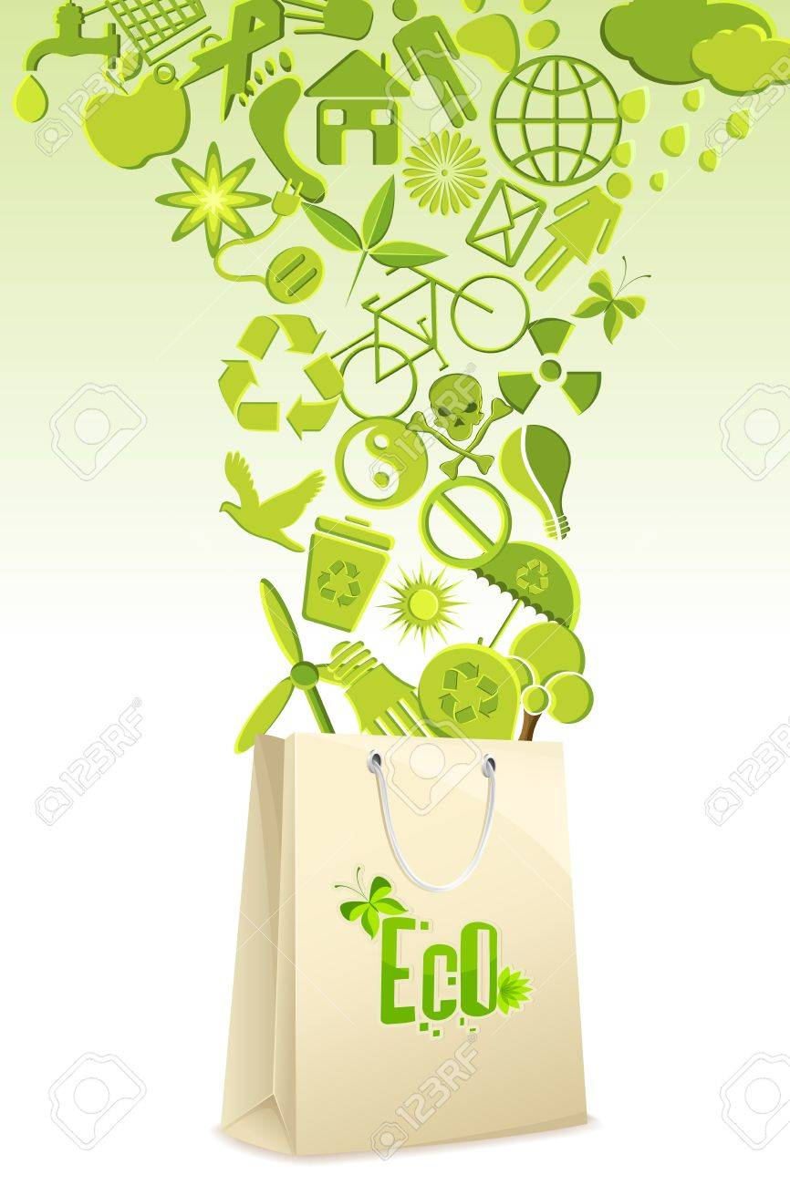 illustration of recycle items coming out of shopping bag Stock Vector - 9321175