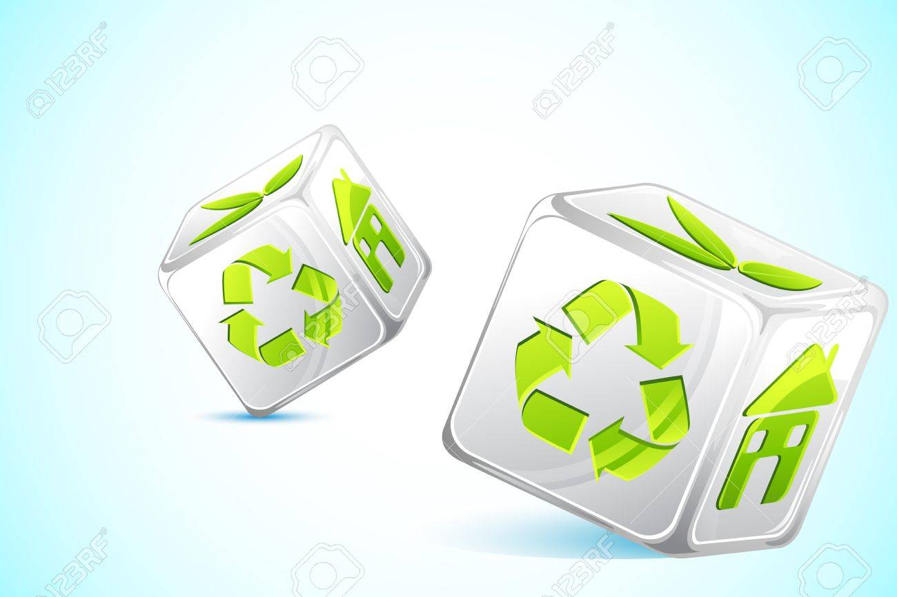 illustration of dice with different recycle symbol Stock Vector - 9378350