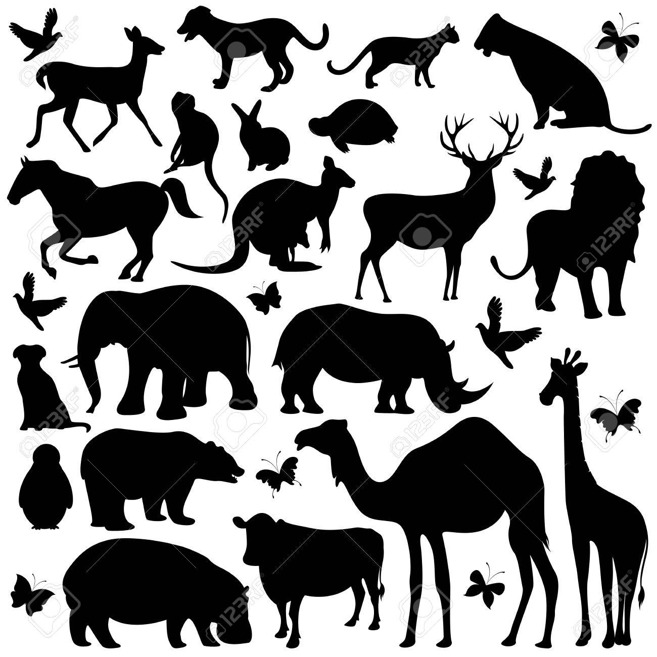 孤立した背景に動物のシルエットのコレクションのイラスト ロイヤリティ