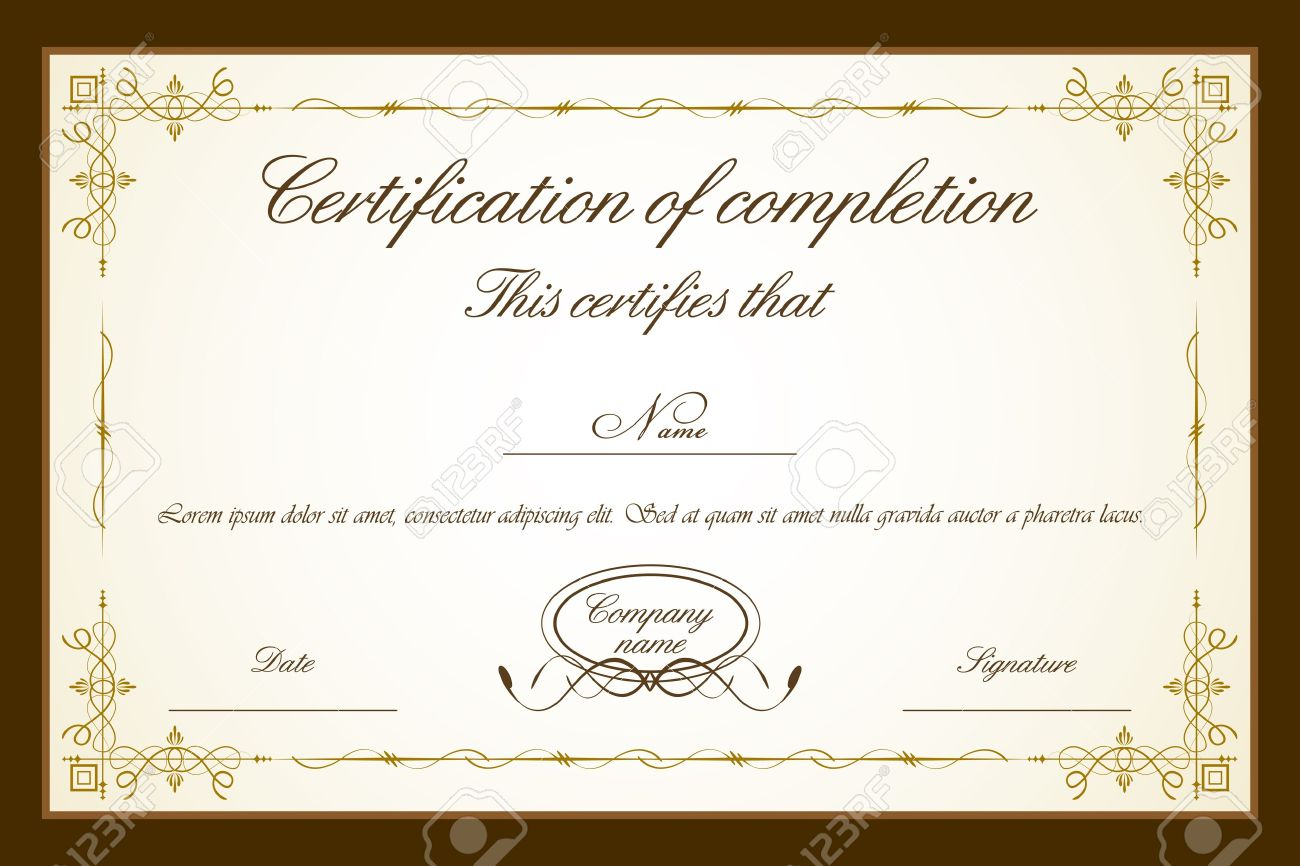 Illustration Of Certificate Template With Floral Frame Royalty Free