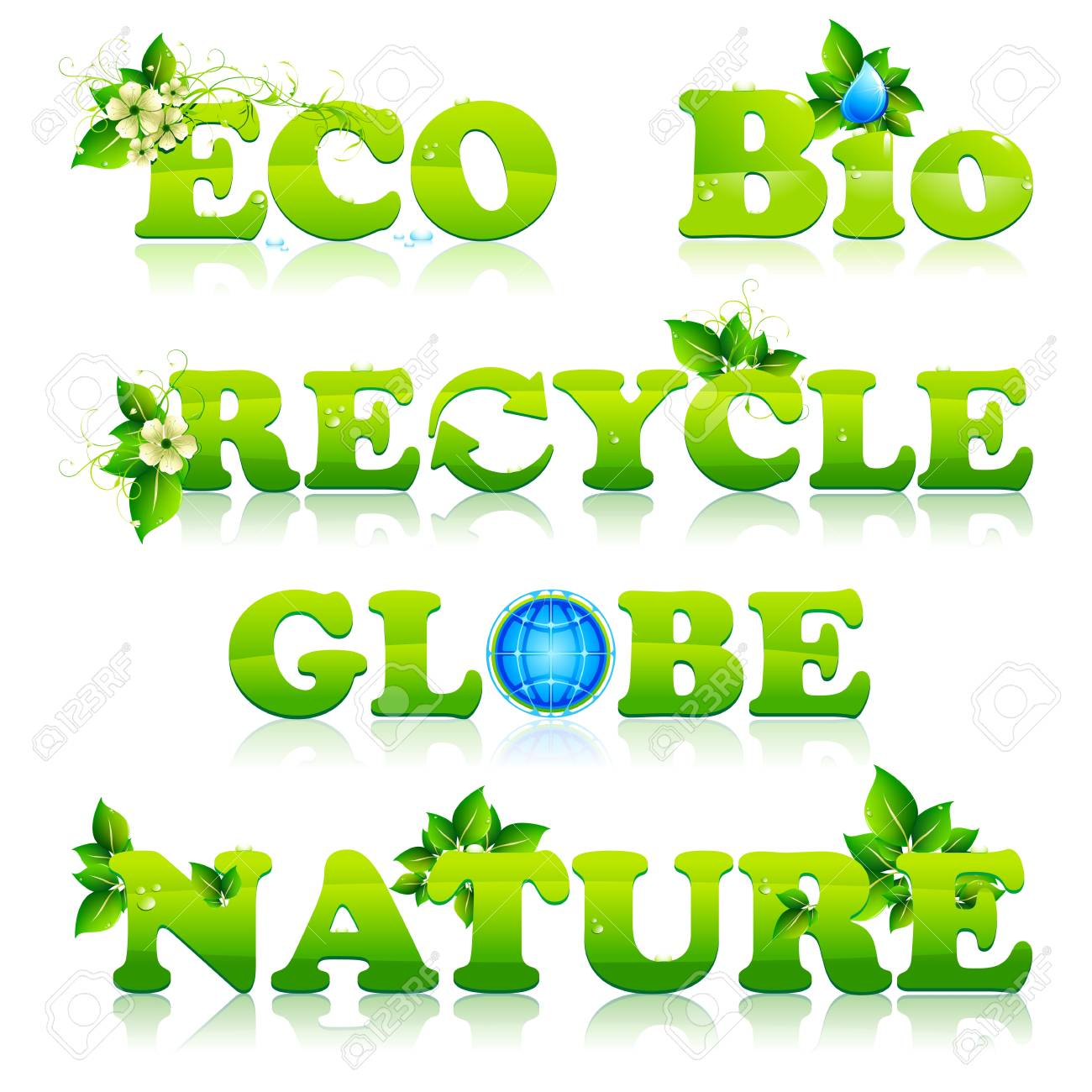 illustration of set of green text for eco, recycle, globe and nature Stock Vector - 9424346