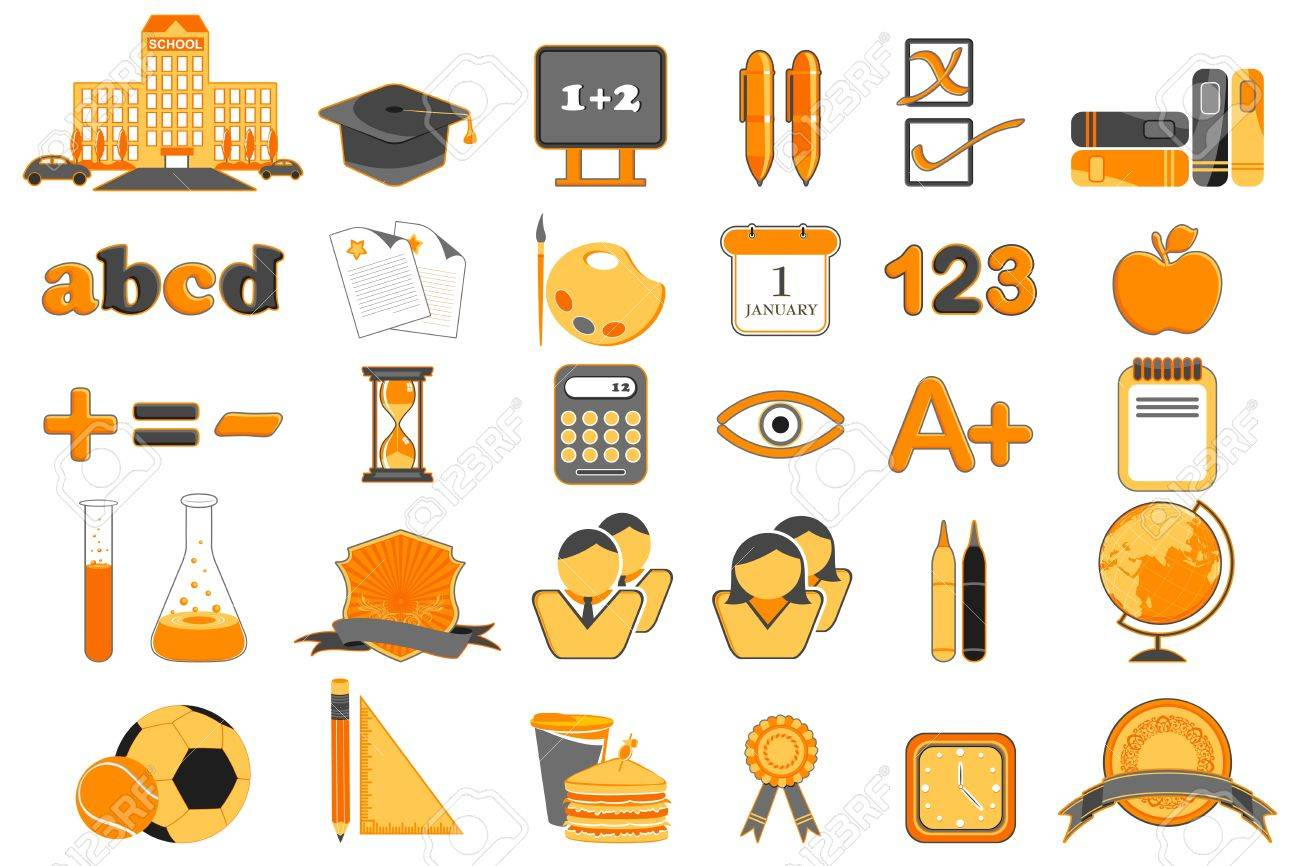 illustration of set of education icon on isolated background Stock Vector - 9424345