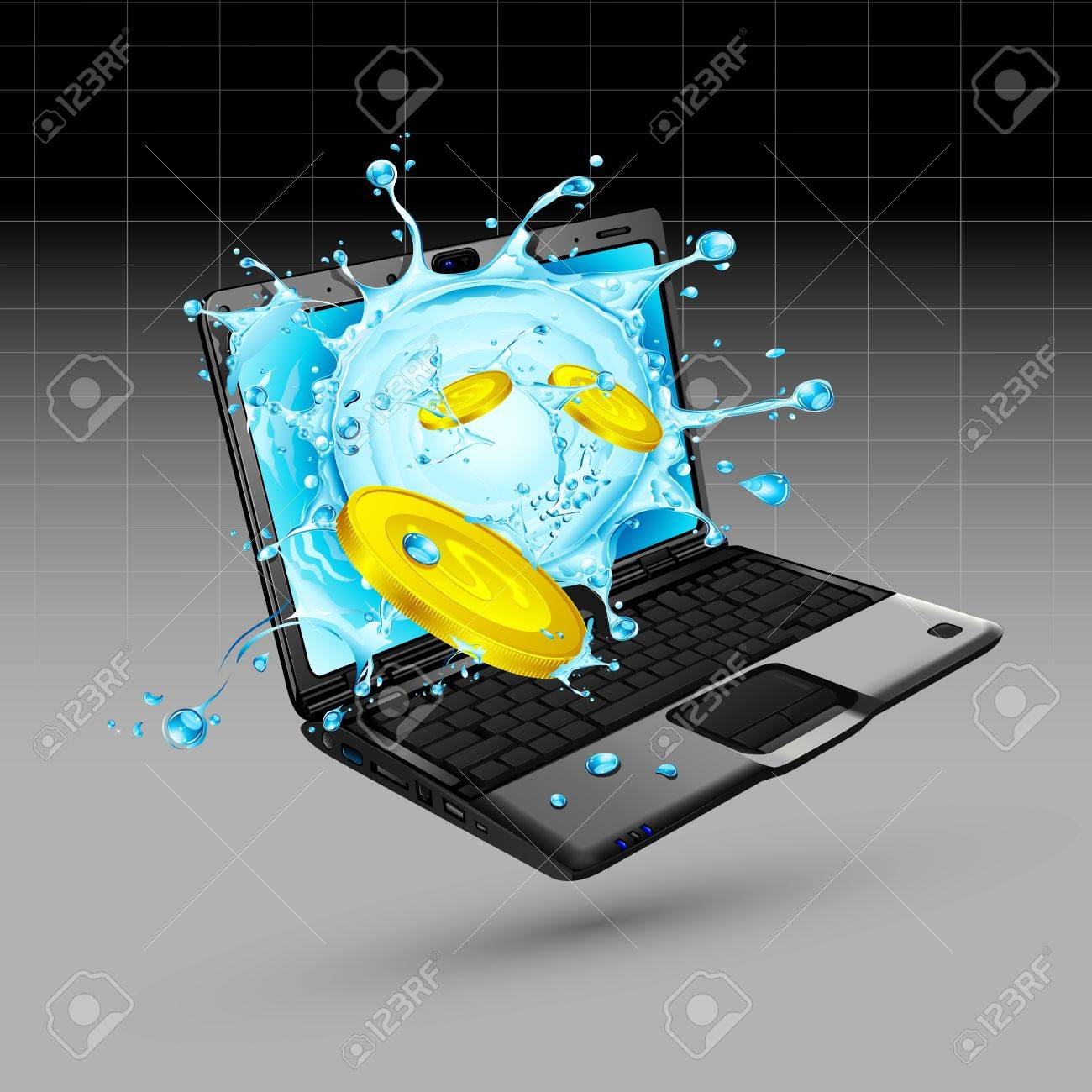 illustration of dollar with splash of water coming out of notebook Stock Vector - 9440105