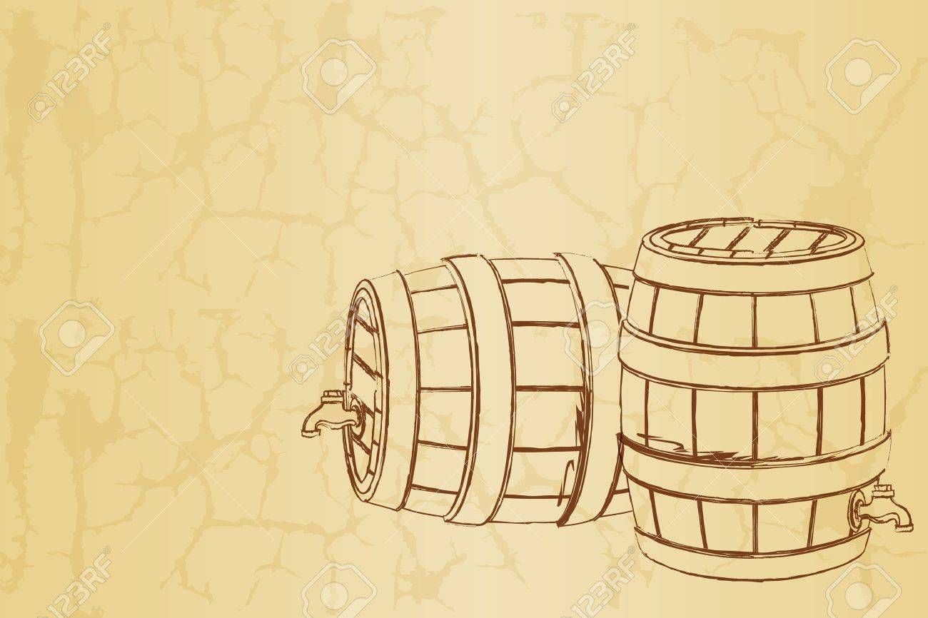 illustration of beer barrel on abstract vintage background Stock Vector - 9605041