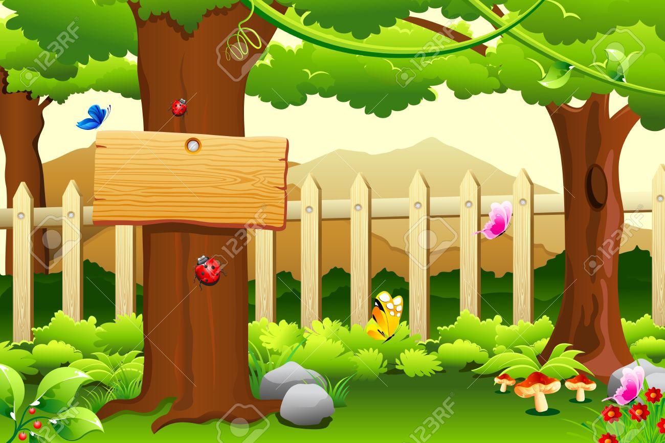 Illustratie Van De Prachtige Landelijke Tuin Sca Ne Met Bomen En