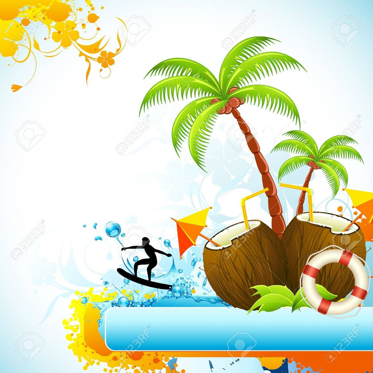 illustration of coconut with palm tree and surfer in sea Stock Vector - 9632833