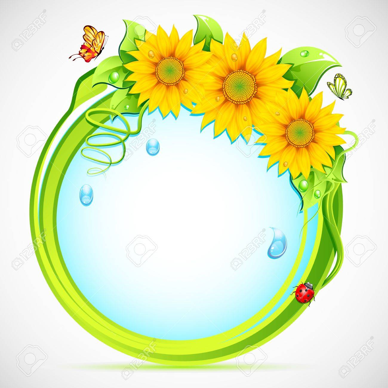 Illustration Of Circle With Sunflower Frame And Butterfly Stock ...