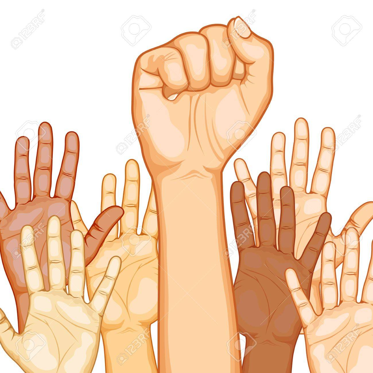 illustration of raised hand of different race with one fist Stock Vector - 9720274